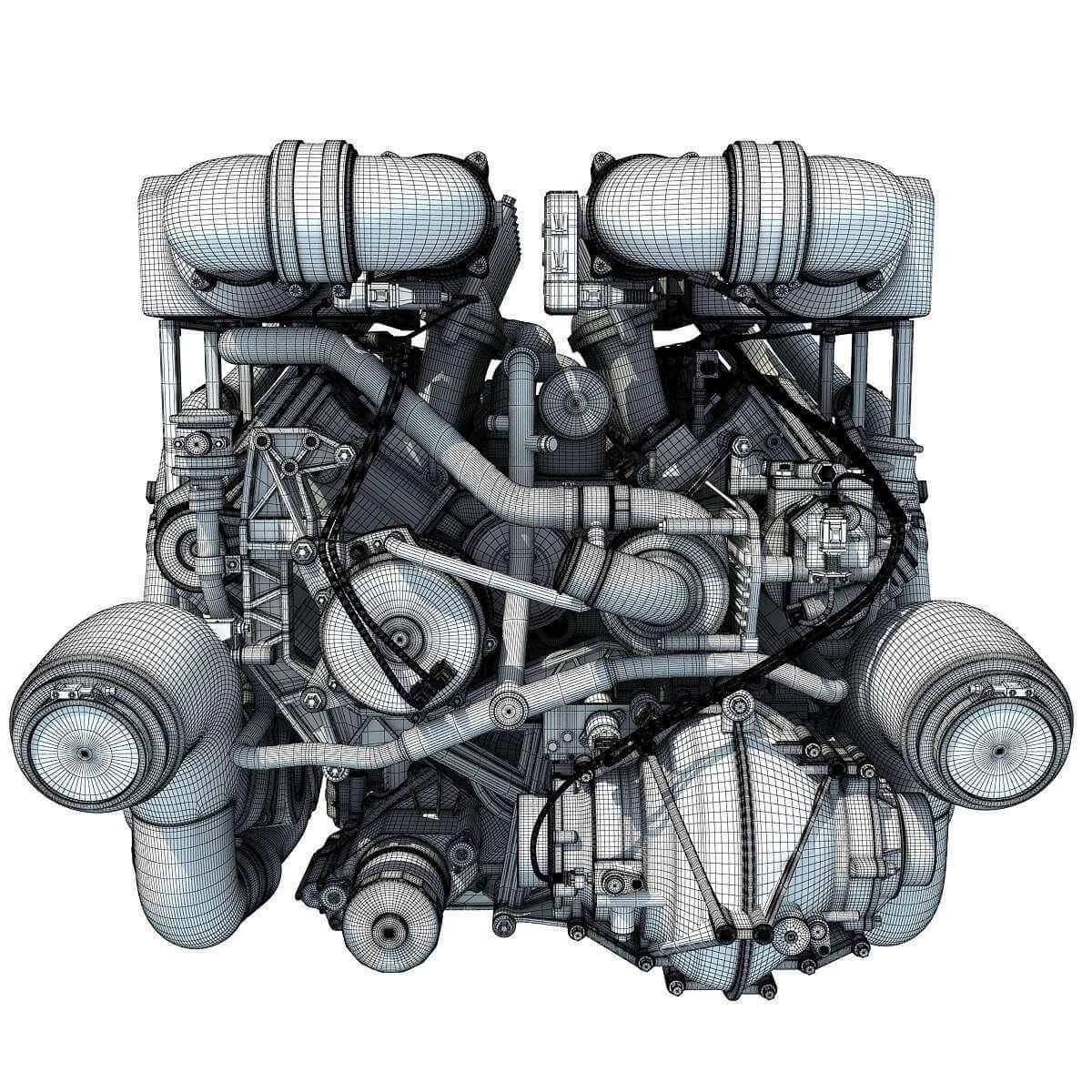 Bugatti Veyron    W16       Engine    3D Model