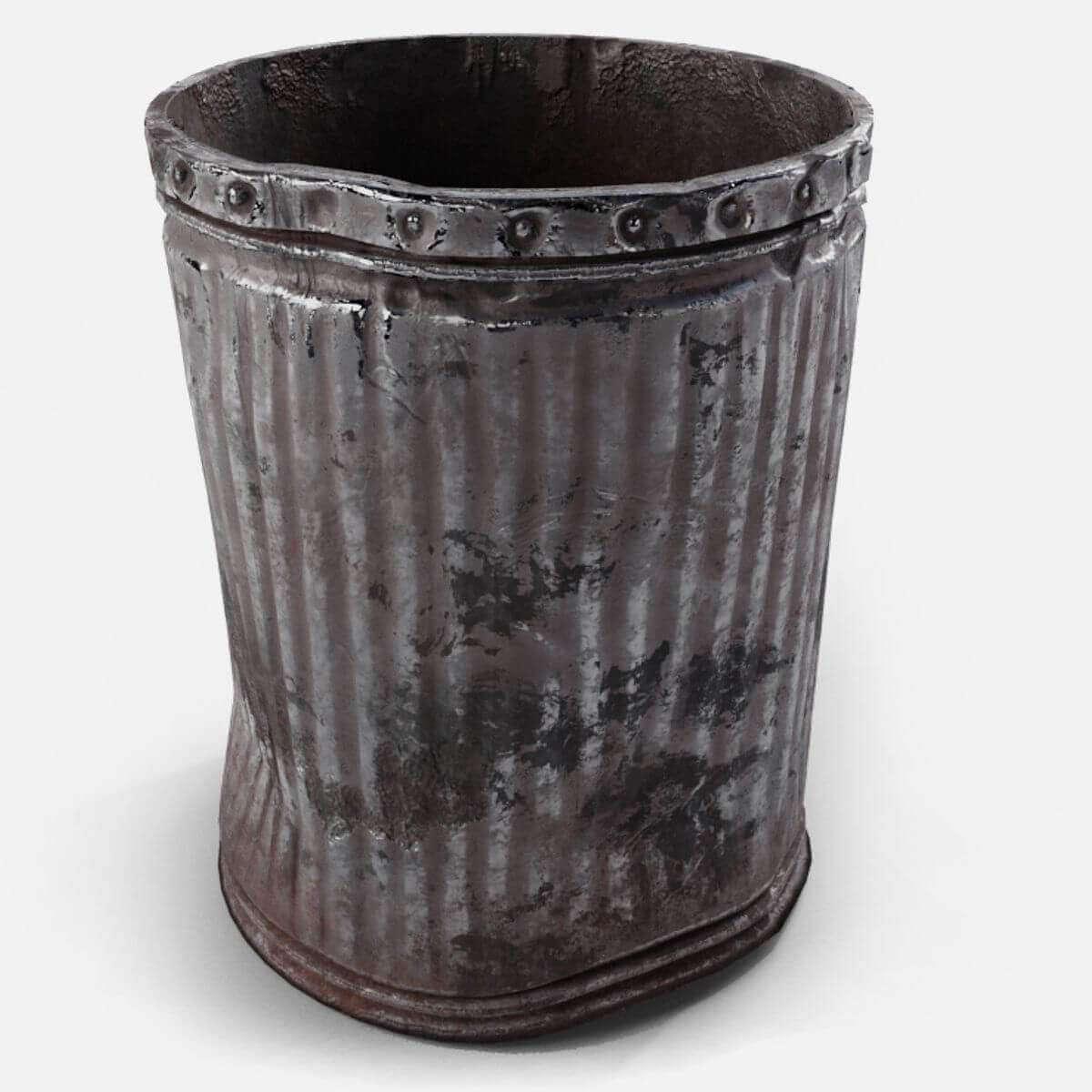 Aluminum Trash Cans : Used metal trash can d model