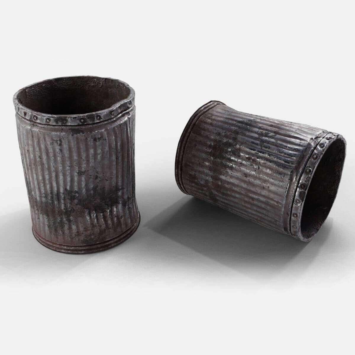 used metal trash can