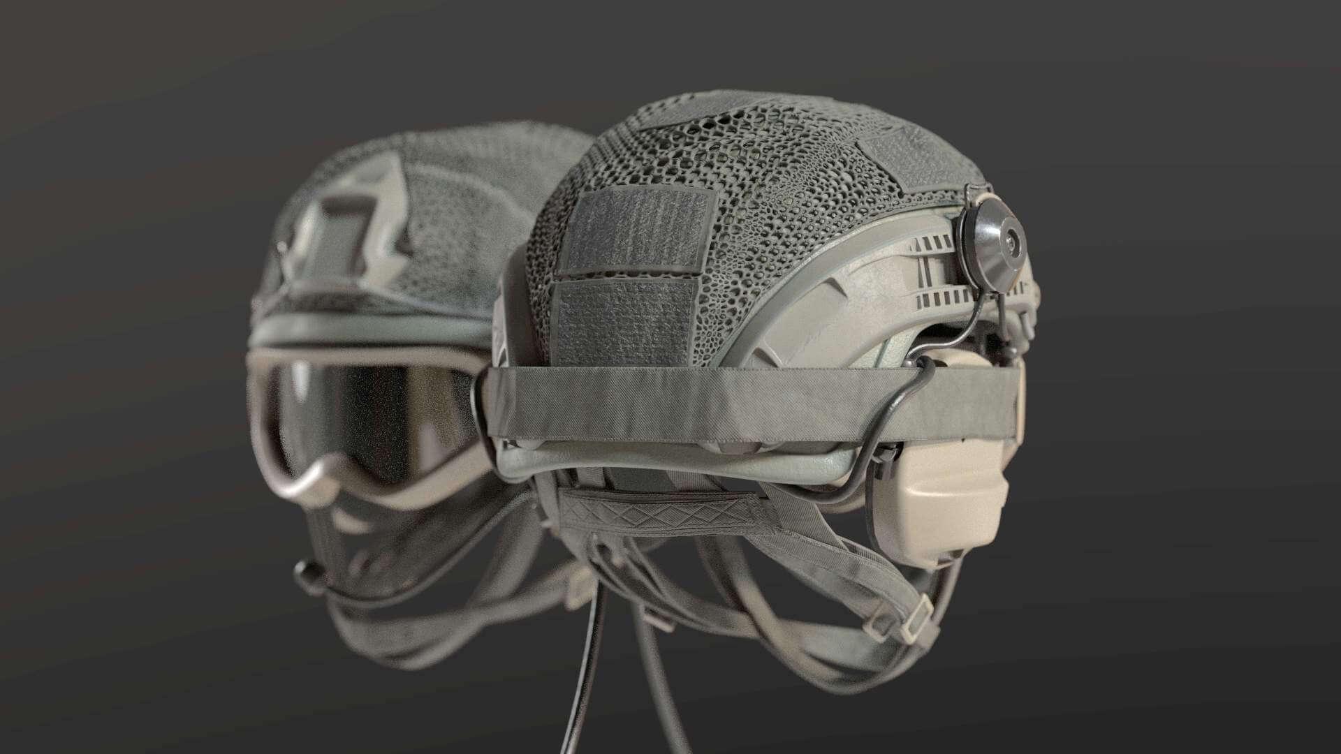 Ballistic Military Helmet with Goggles 3D Model