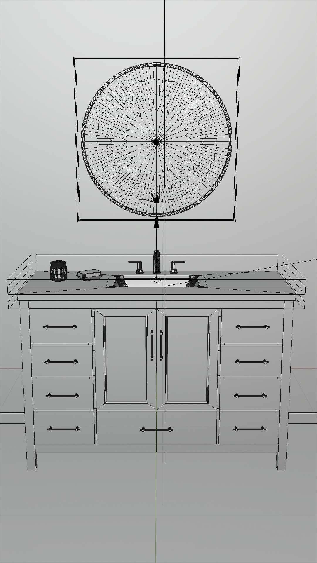 Kendall Blue Bathroom Vanity 48 Inch 3d Model