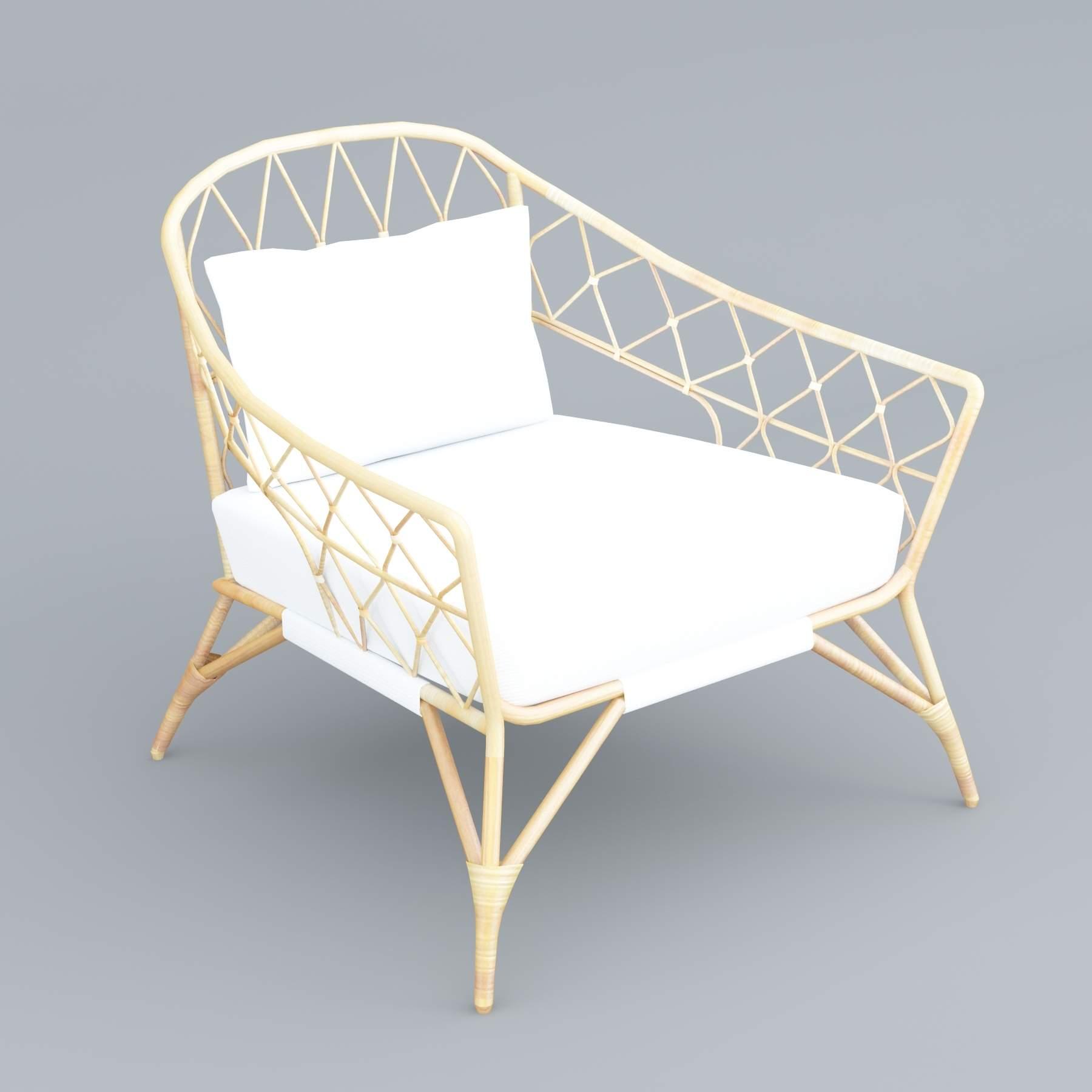 Ikea StockHolm Rattan Chair 3D Model
