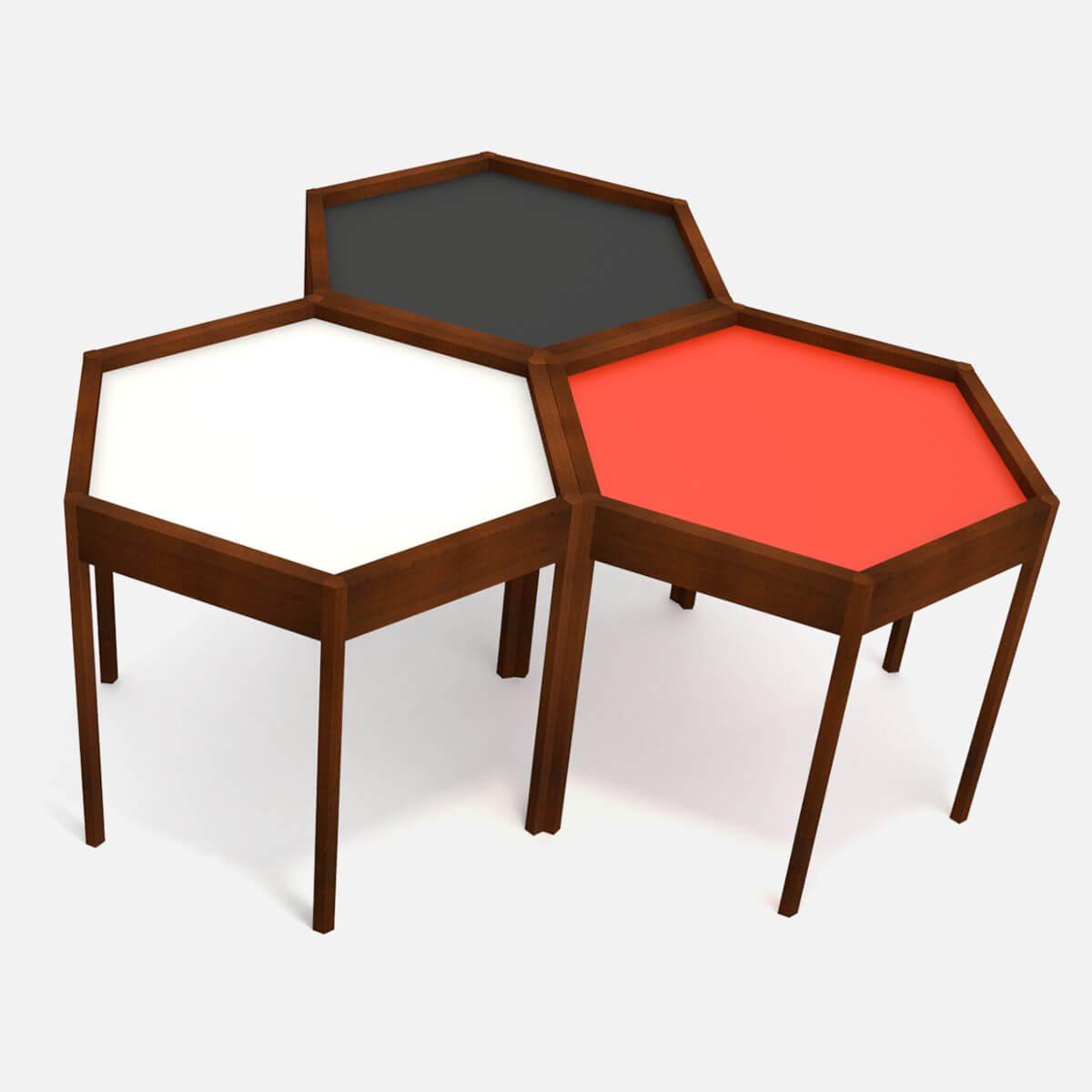 Mid Century Modern Hexagon Side Table