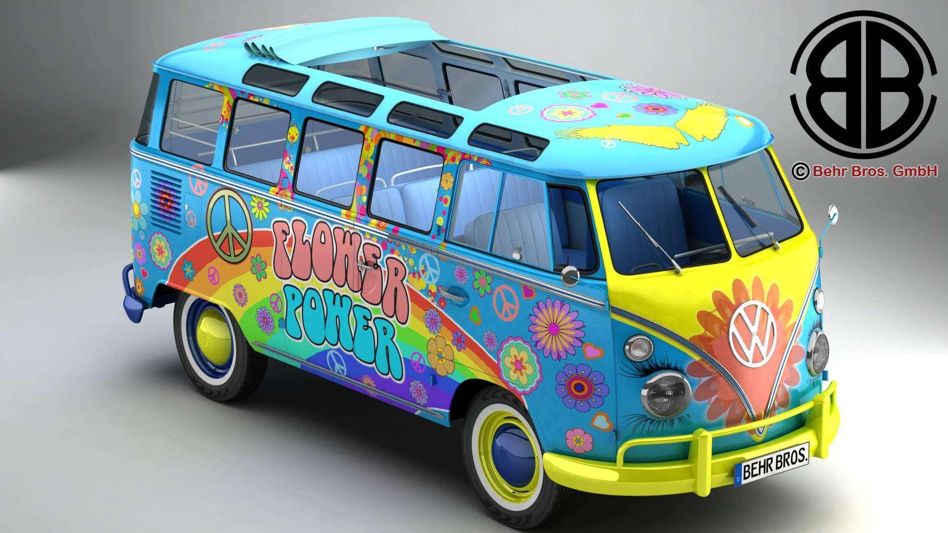 Volkswagen Type 2 >> 1963 Volkswagen Type 2 Samba Hippie Version 3d Model