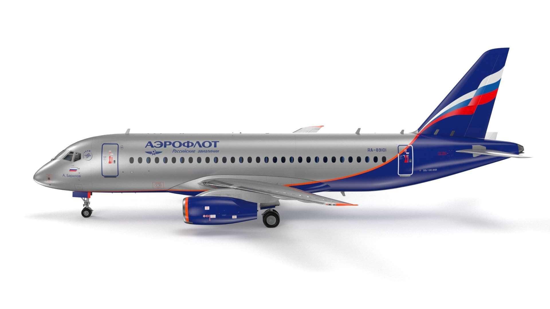 Sukhoi SuperJet-100 AeroFlot 3D Model