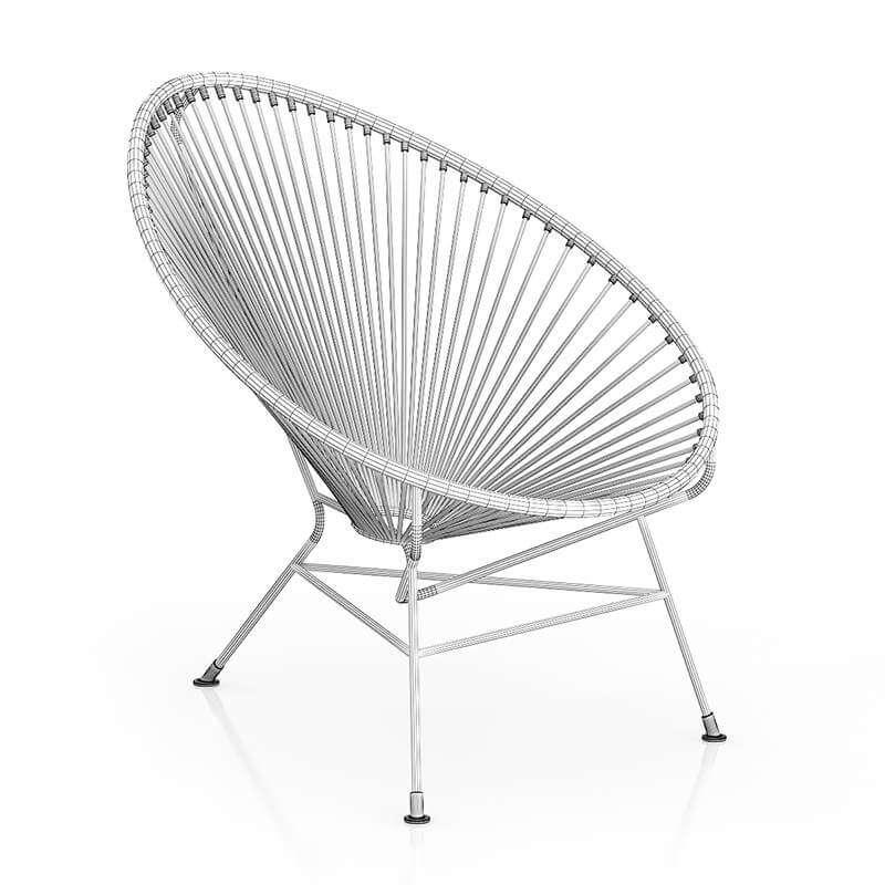 Round Black Wire Chair 3D Model