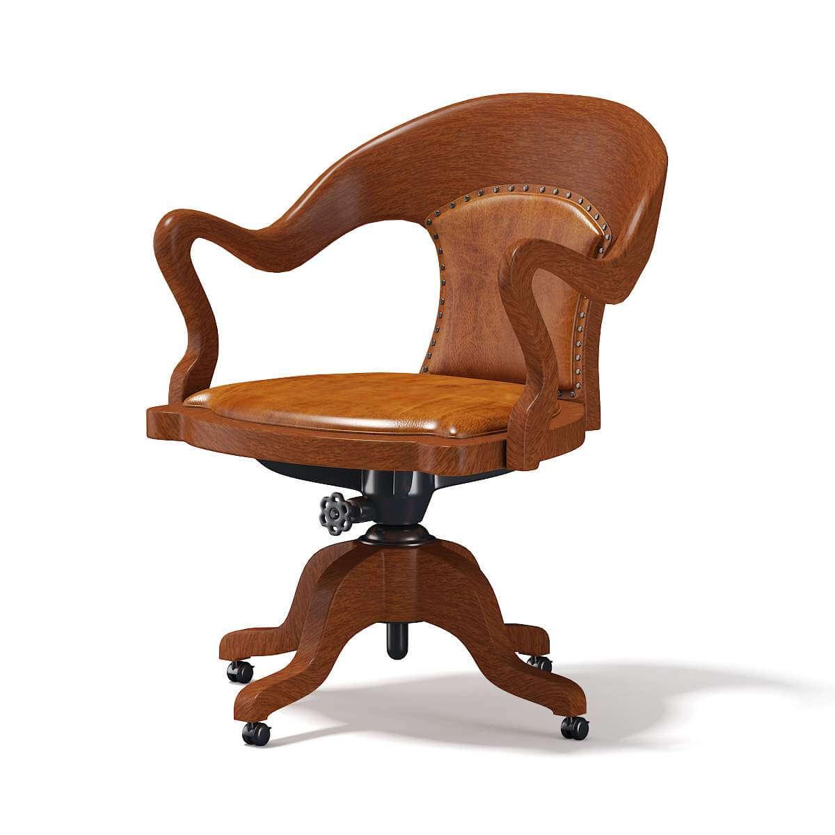 Wooden Swivel Chair 3d Model