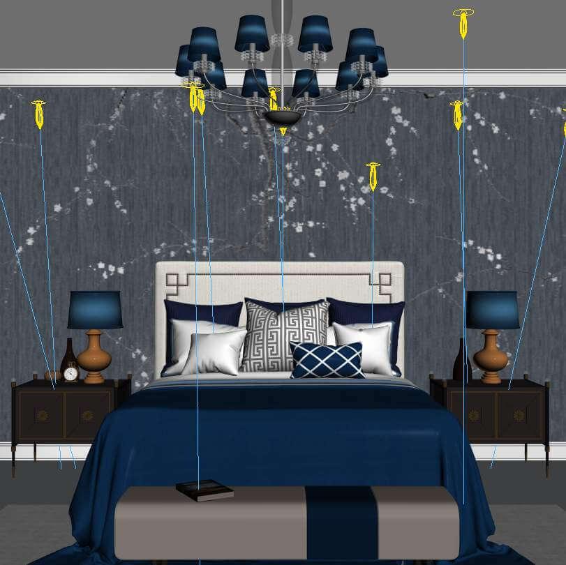 Modern Style Bedroom Queen Size Bed Set 3d Model