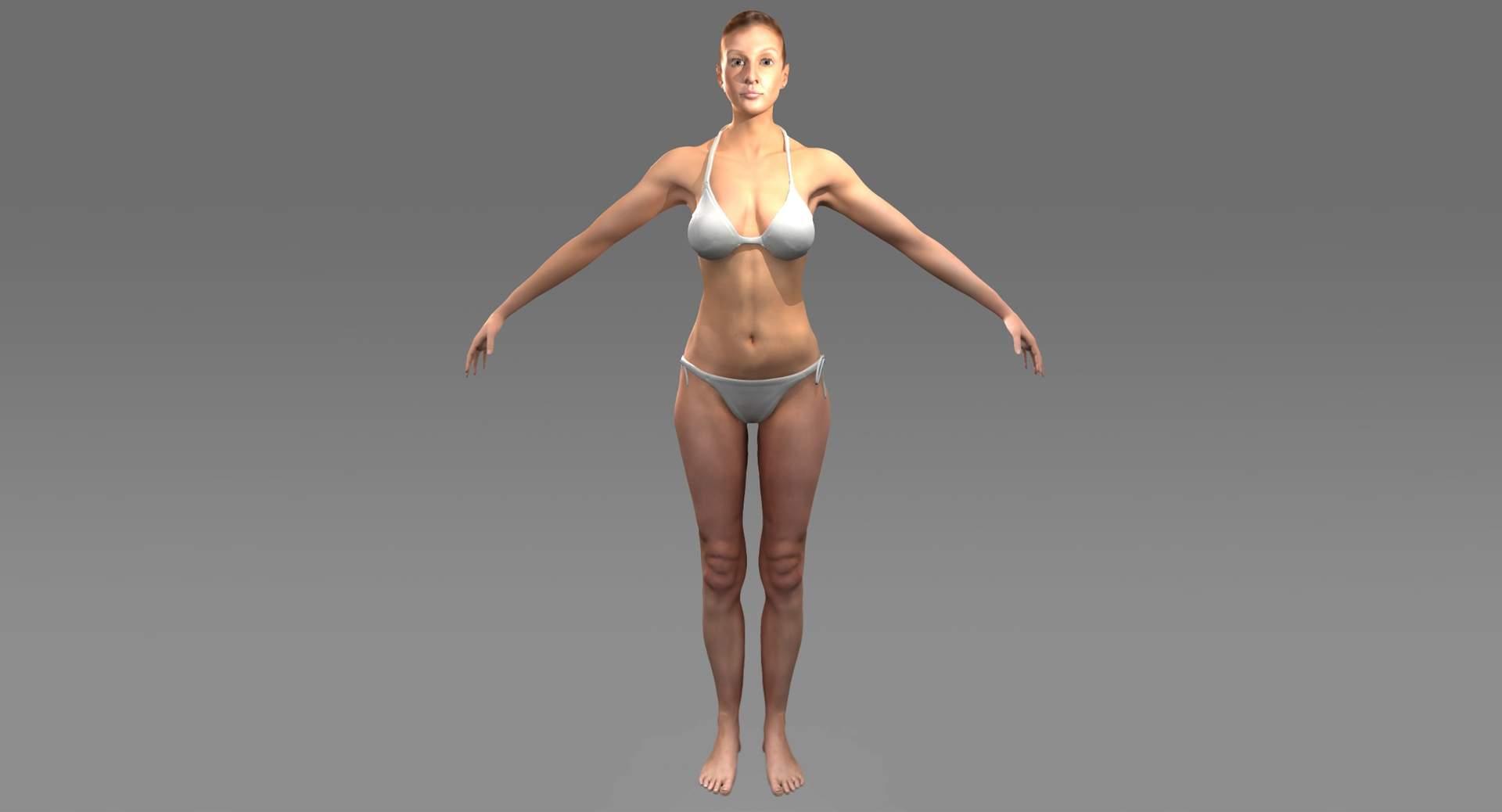 Female X-Ray Skeleton with Skin 3D Model