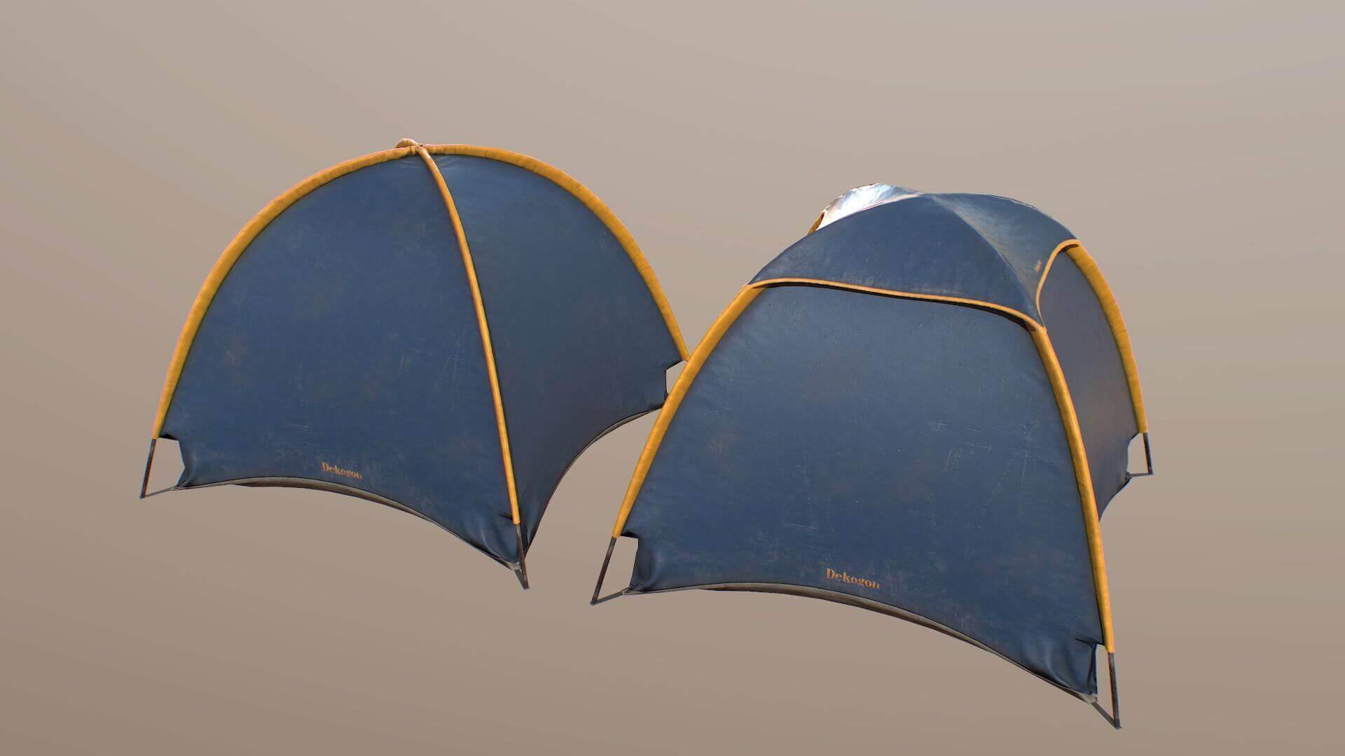 Camping Tent Blue 3d Model