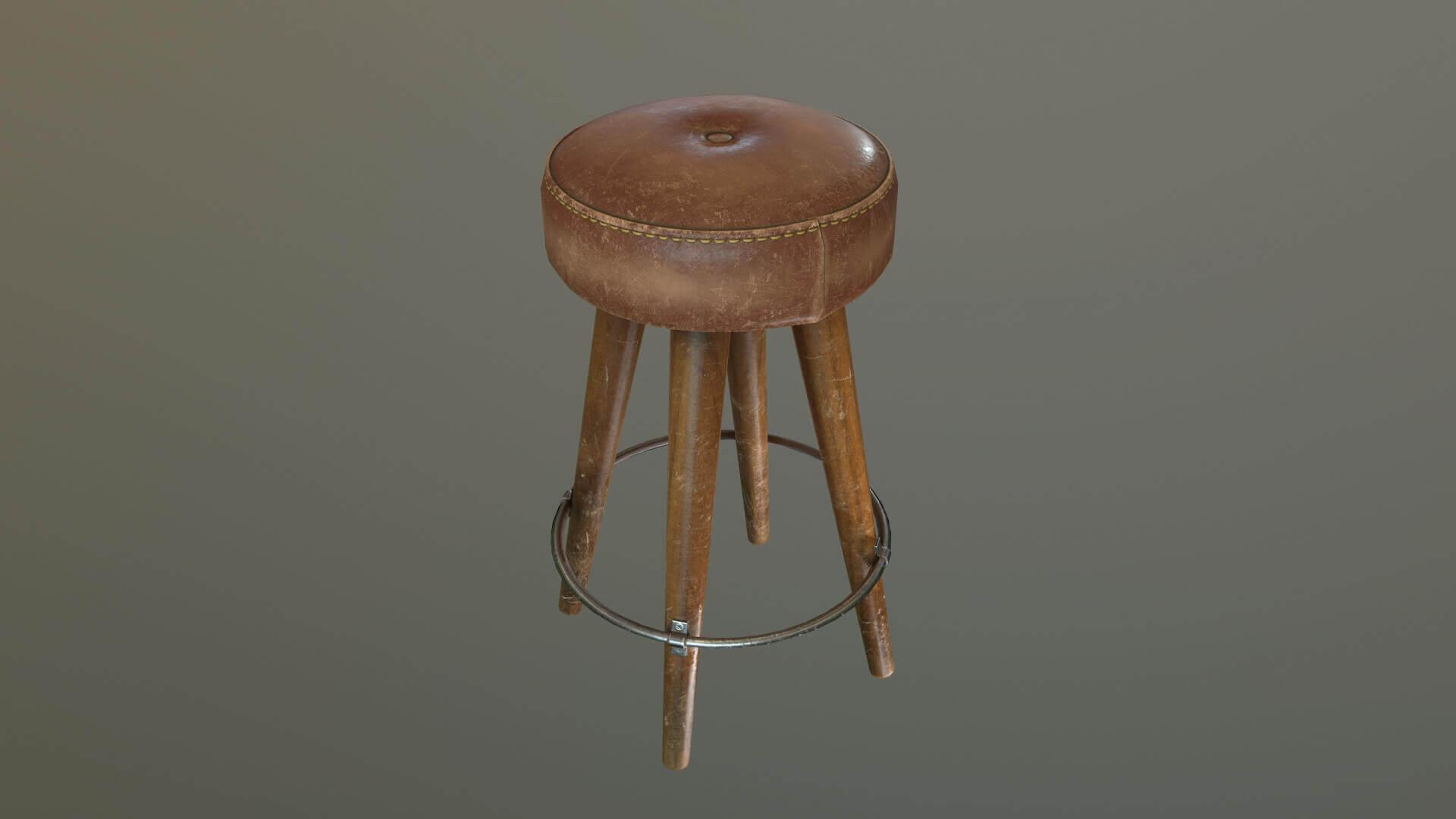 Phenomenal Leather Bar Stool 3D Model Machost Co Dining Chair Design Ideas Machostcouk