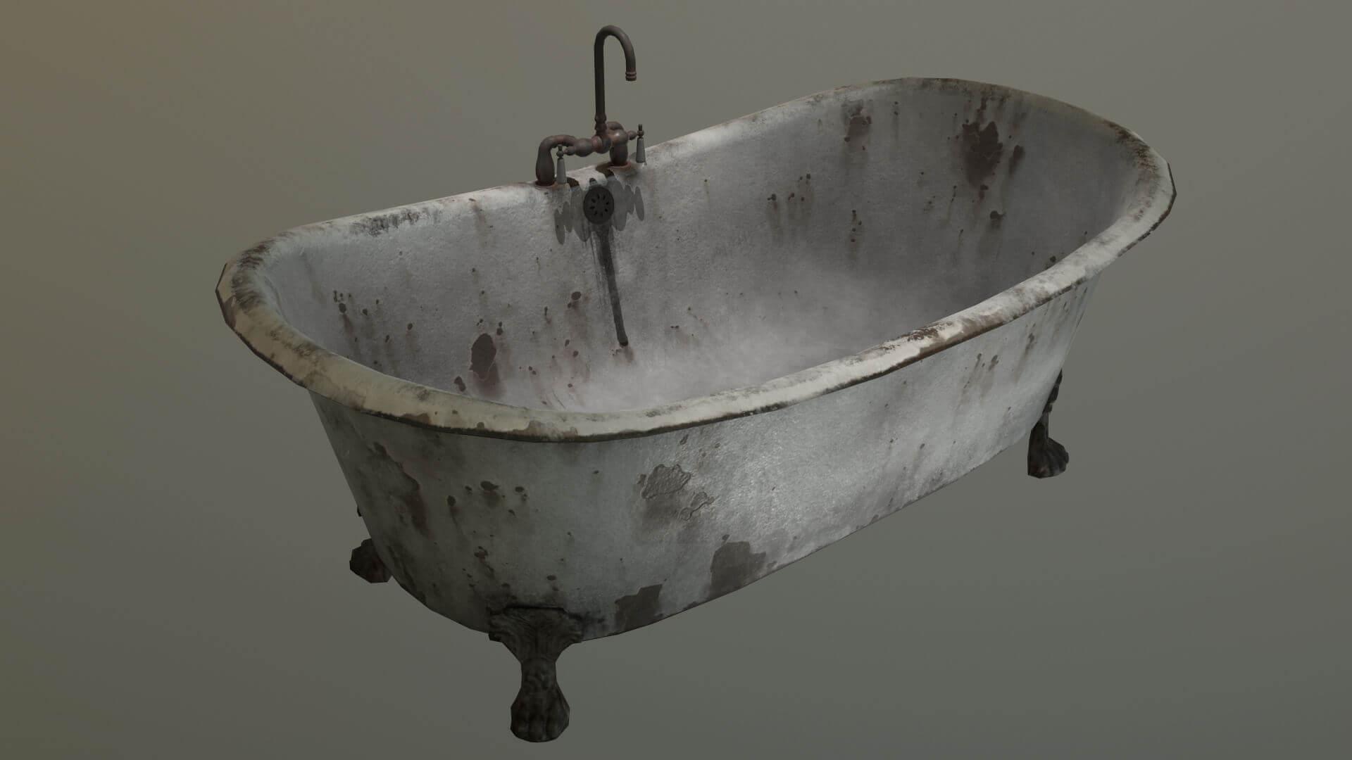 Old Clawfoot Bathtub 3D Model