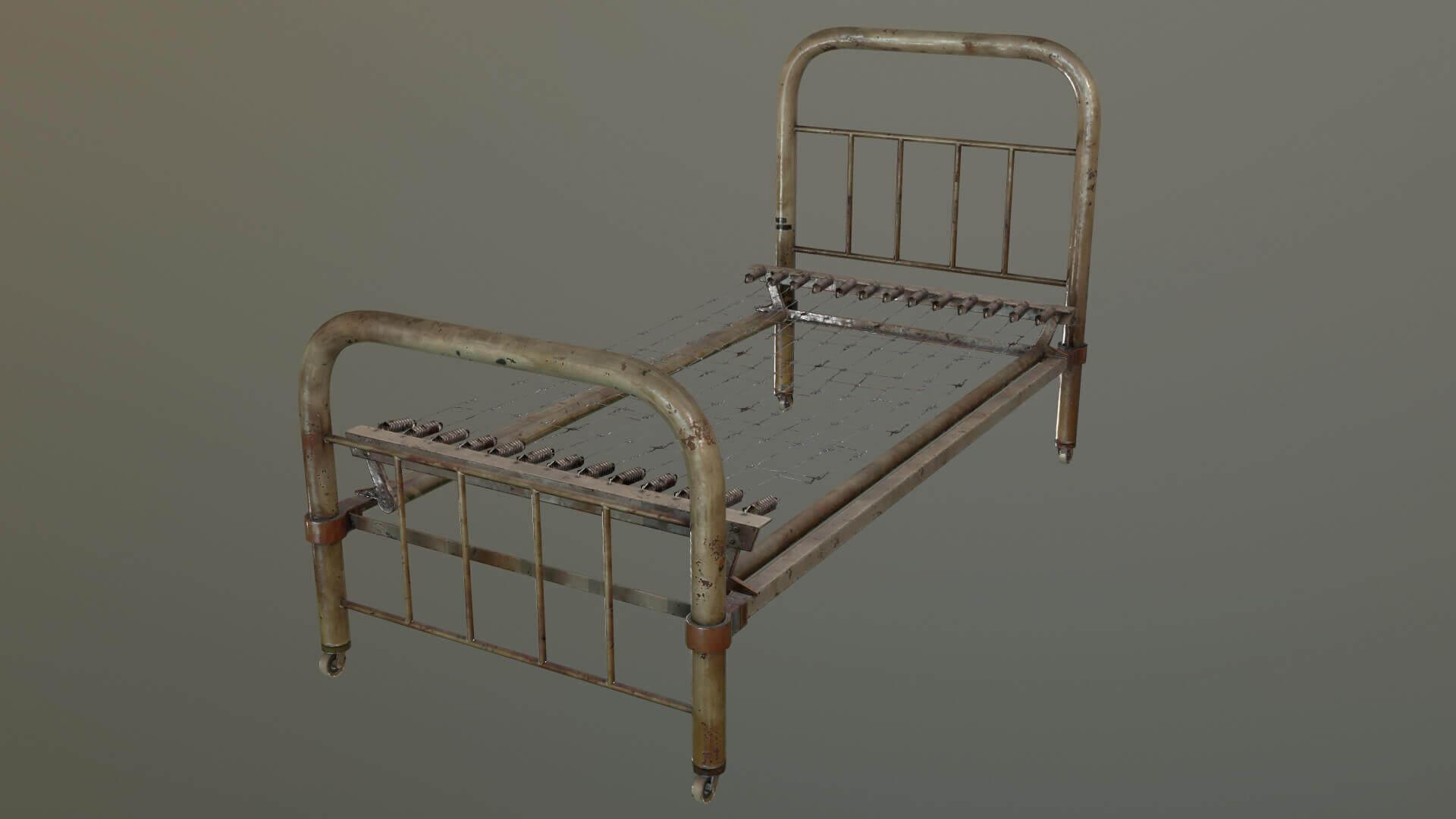 Old Metal Bed Frame 3d Model