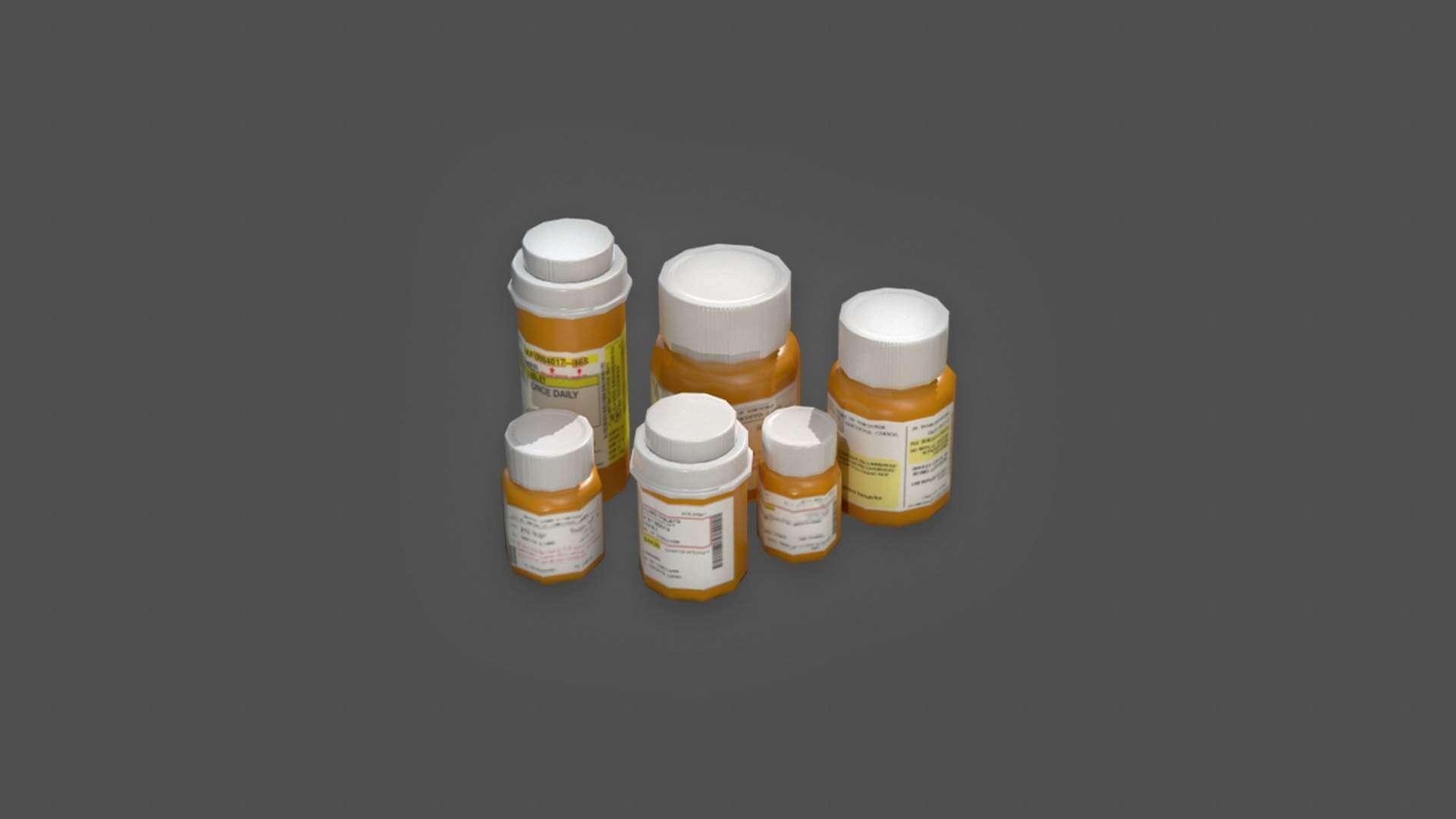 Pill Bottles 3D Model