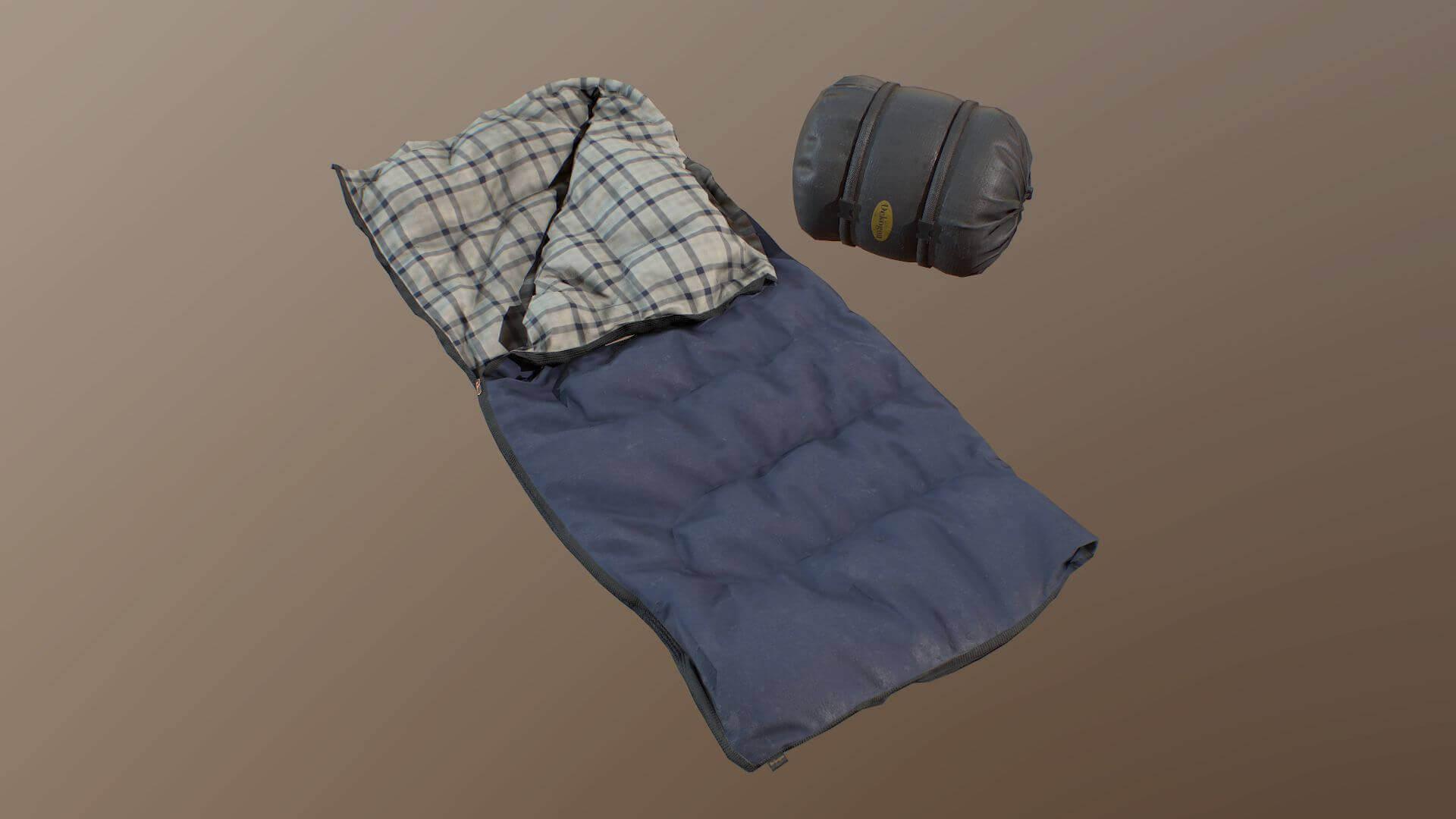 Sleeping Bag Blue 3d Model