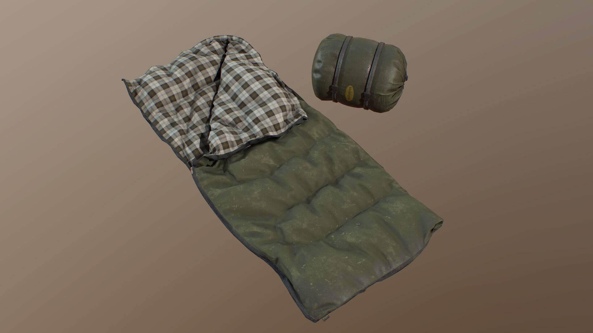 Sleeping Bag Green 3d Model