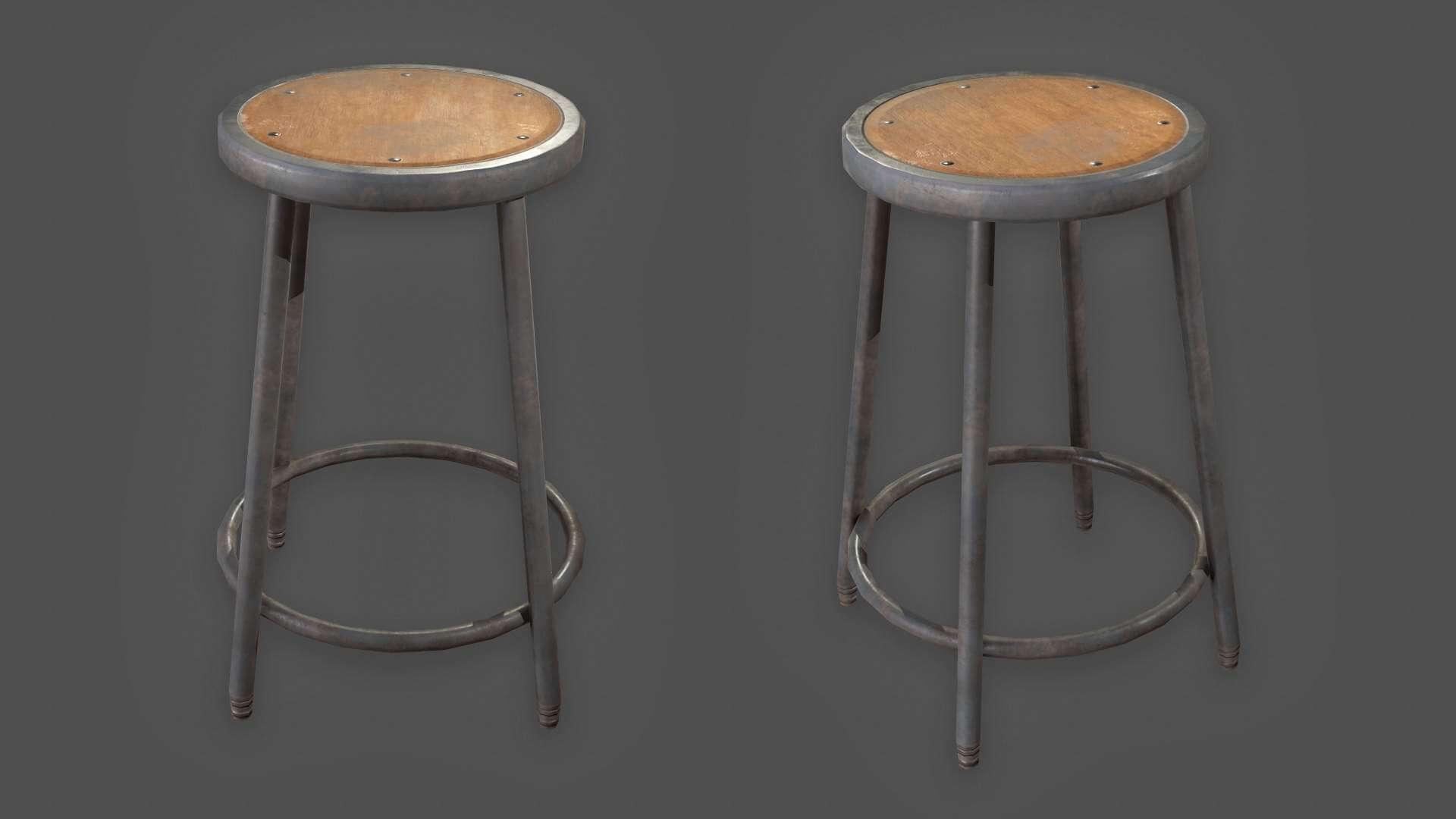 Outstanding Metal Stool 3D Model Machost Co Dining Chair Design Ideas Machostcouk