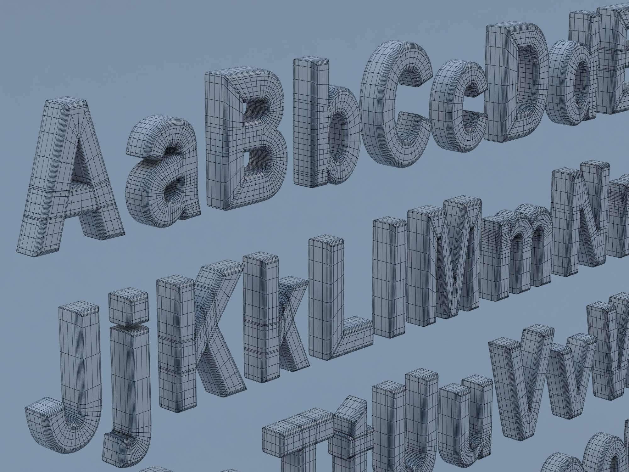 Arial Font Characters 3D Model