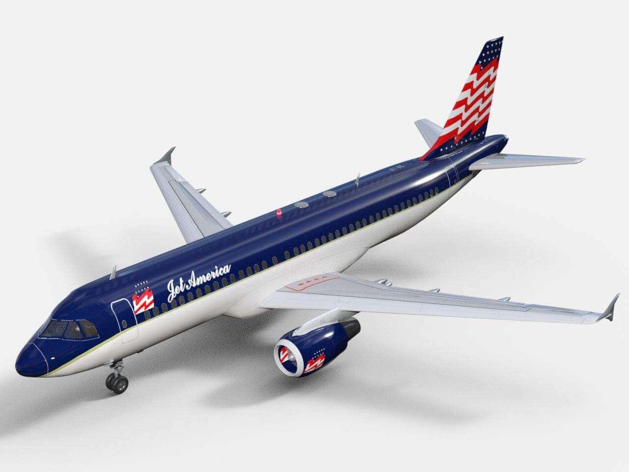 Airbus A320 Jet America 3D Model