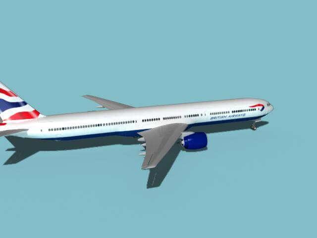 Boeing 777-300 Brittish Airways 3D Model