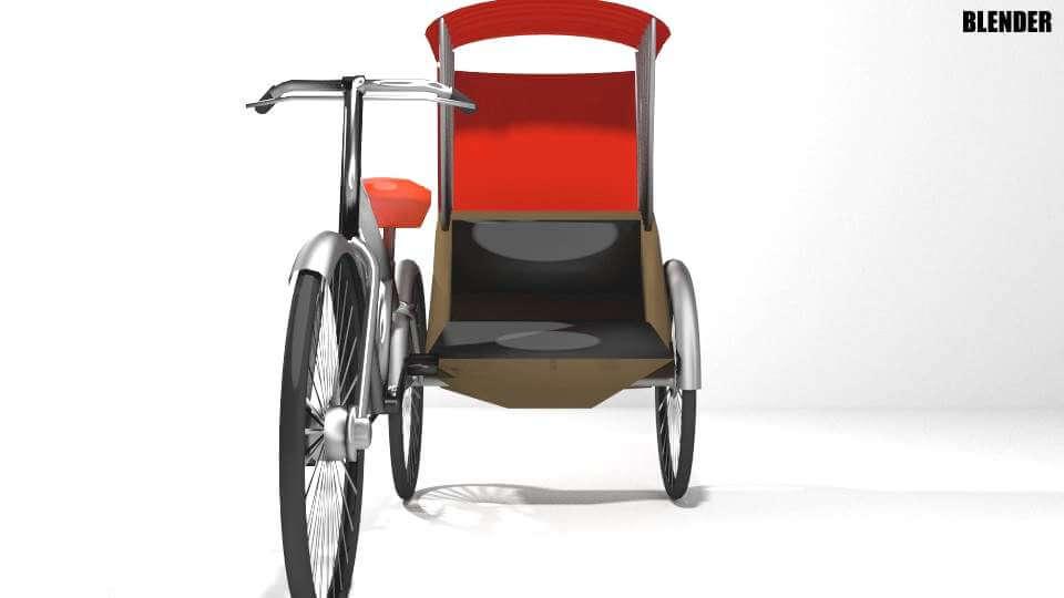 Side Driver Rickshaw 3D Model