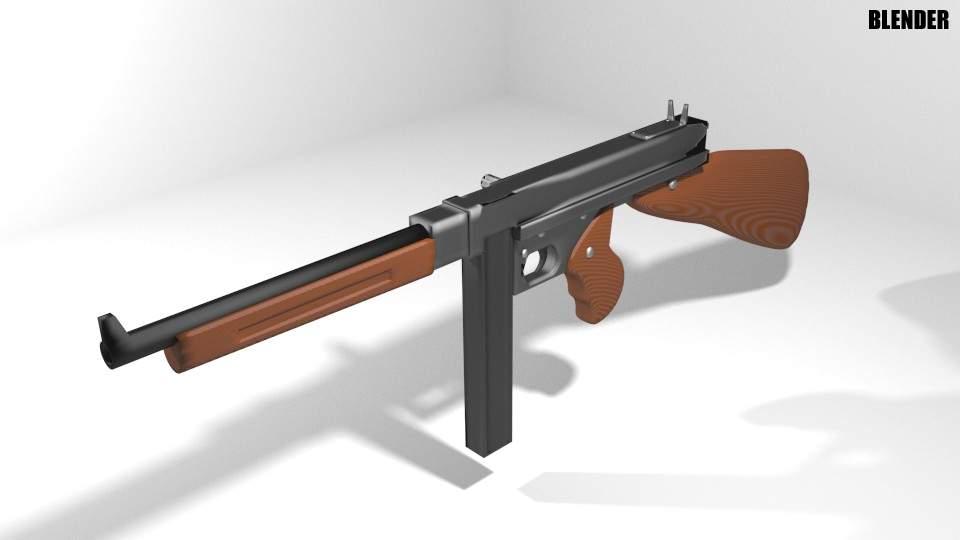1fb9c0c216a0 Thompson M1A1 Submachine Gun 3D Model