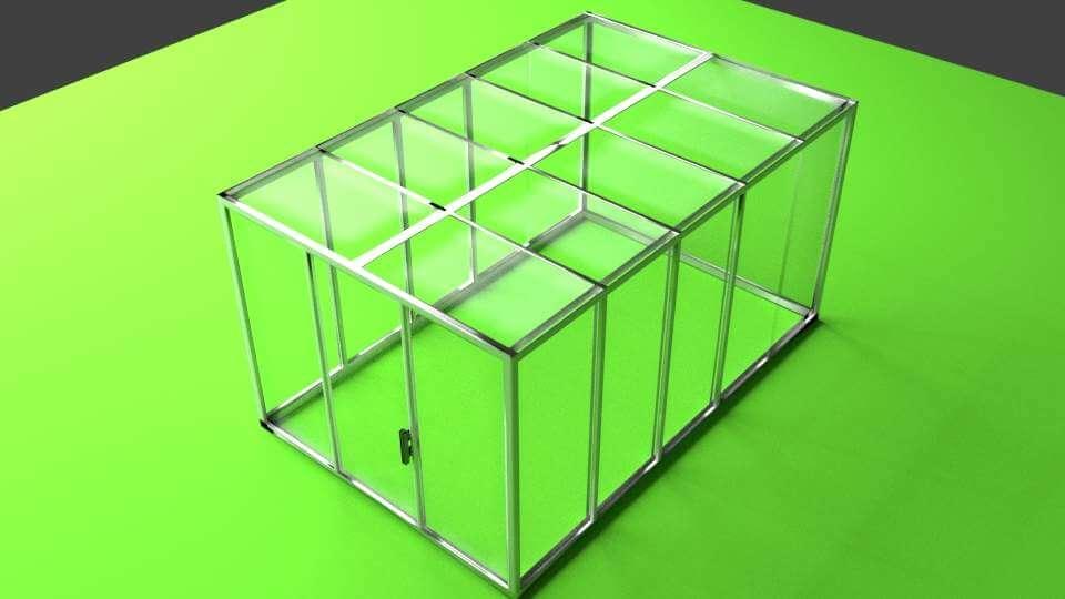 Flat Roof Greenhouse 3d Model
