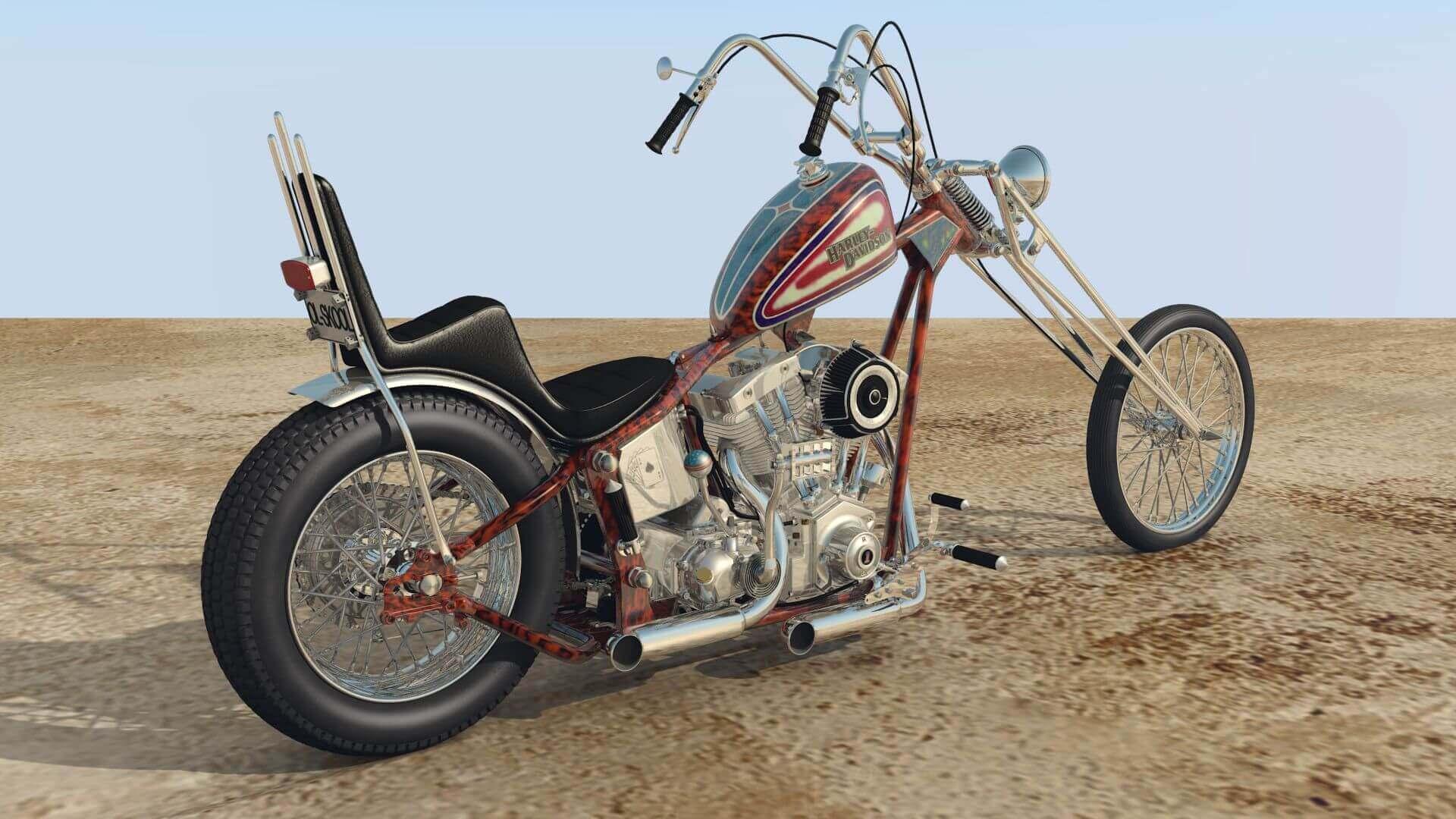 Old Harley Davidson: 70s Old School Harley Davidson Chopper 3D Model