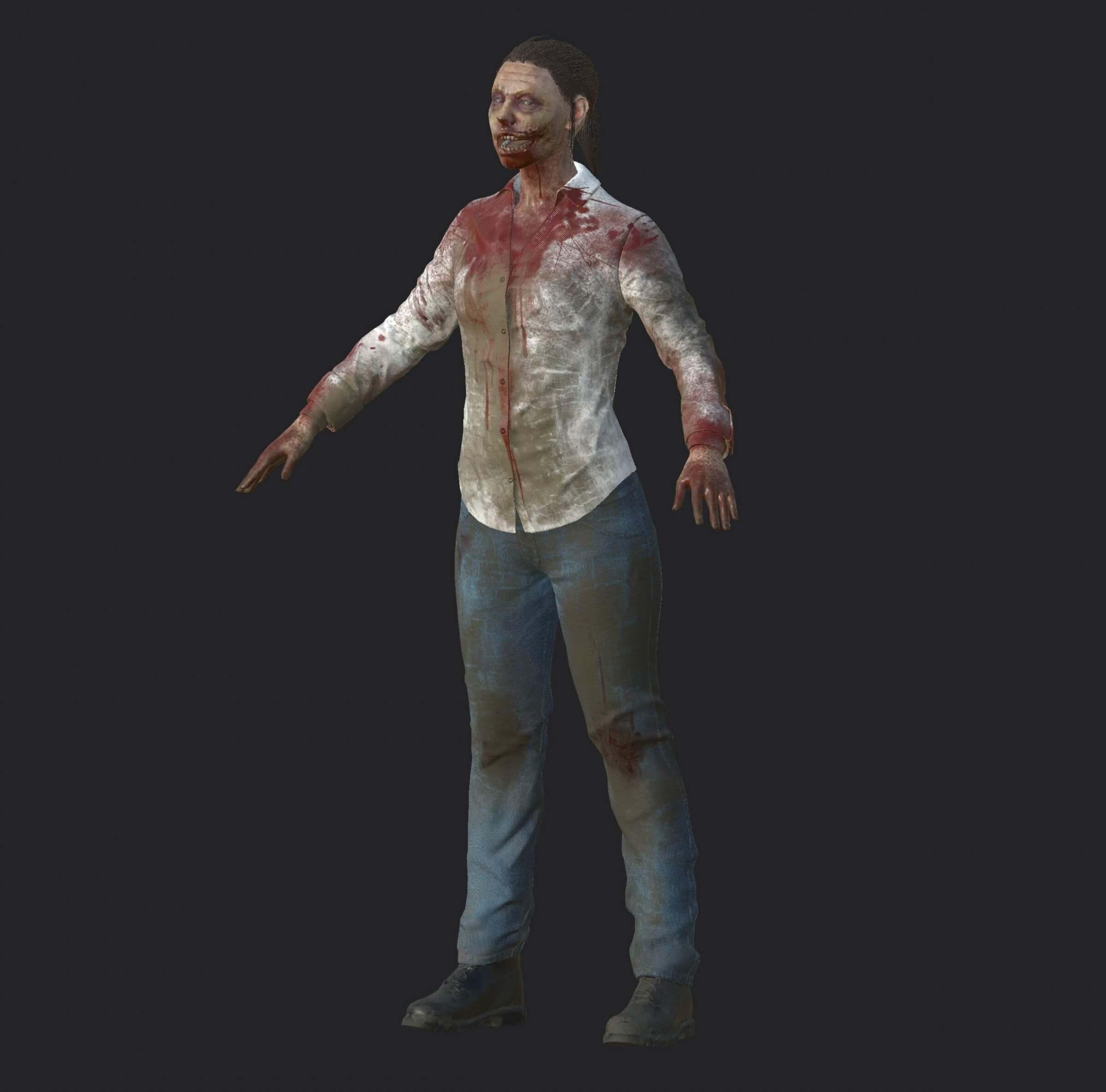 Zombie Woman 3D Model