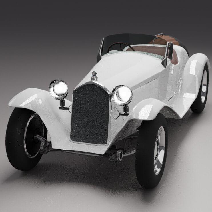 Alfa Romeo Vintage Car 3D Model