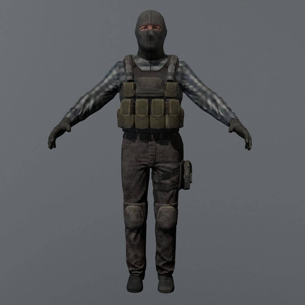 Terrorist Game Character 3D Model