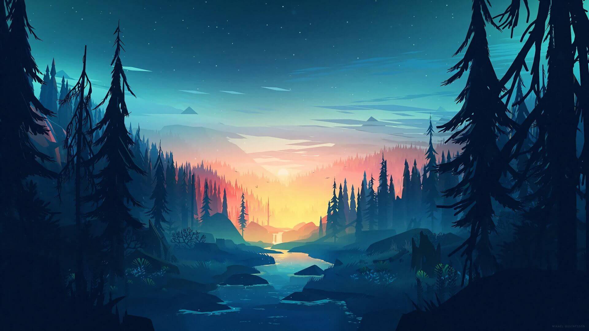 River Mountain 3D Desktop HD Wallpaper