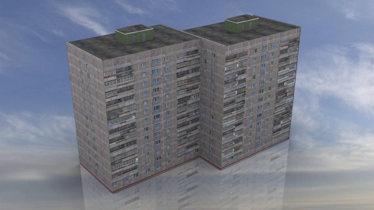 Russian Apartment 14 Story Building 3D Model