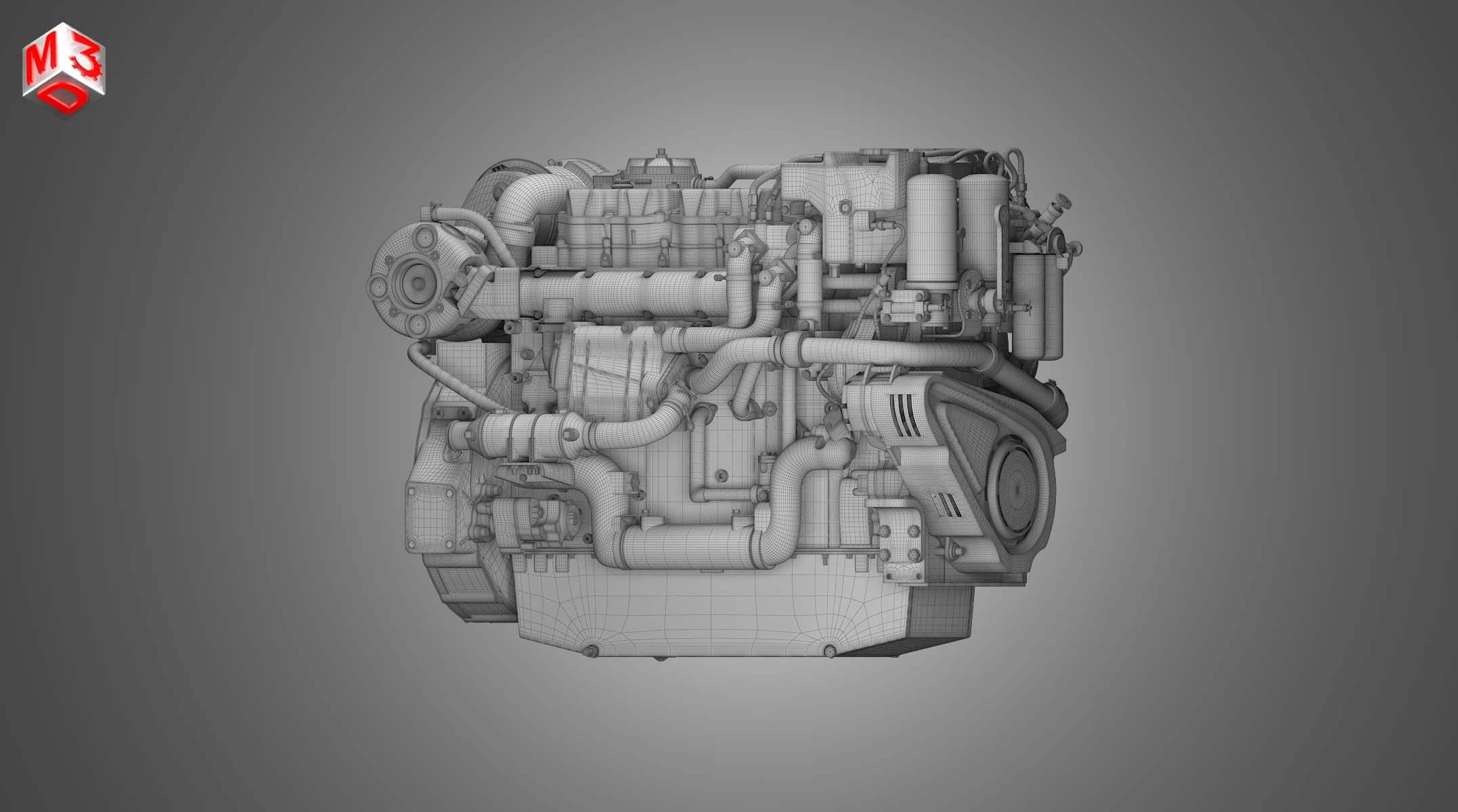 CAT C18 ACERT Engine 3D Model