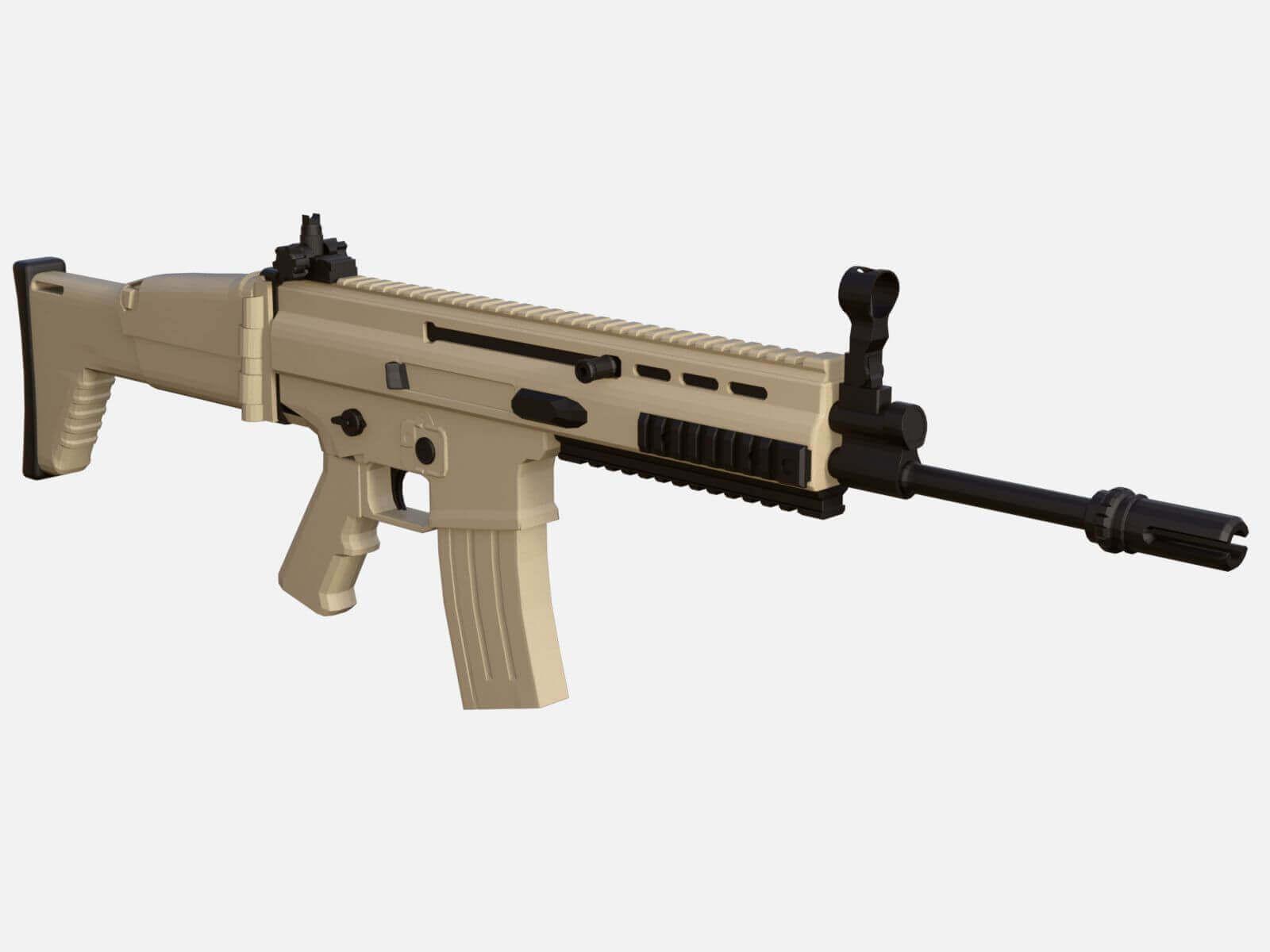 fn scar assault rifle 3d model