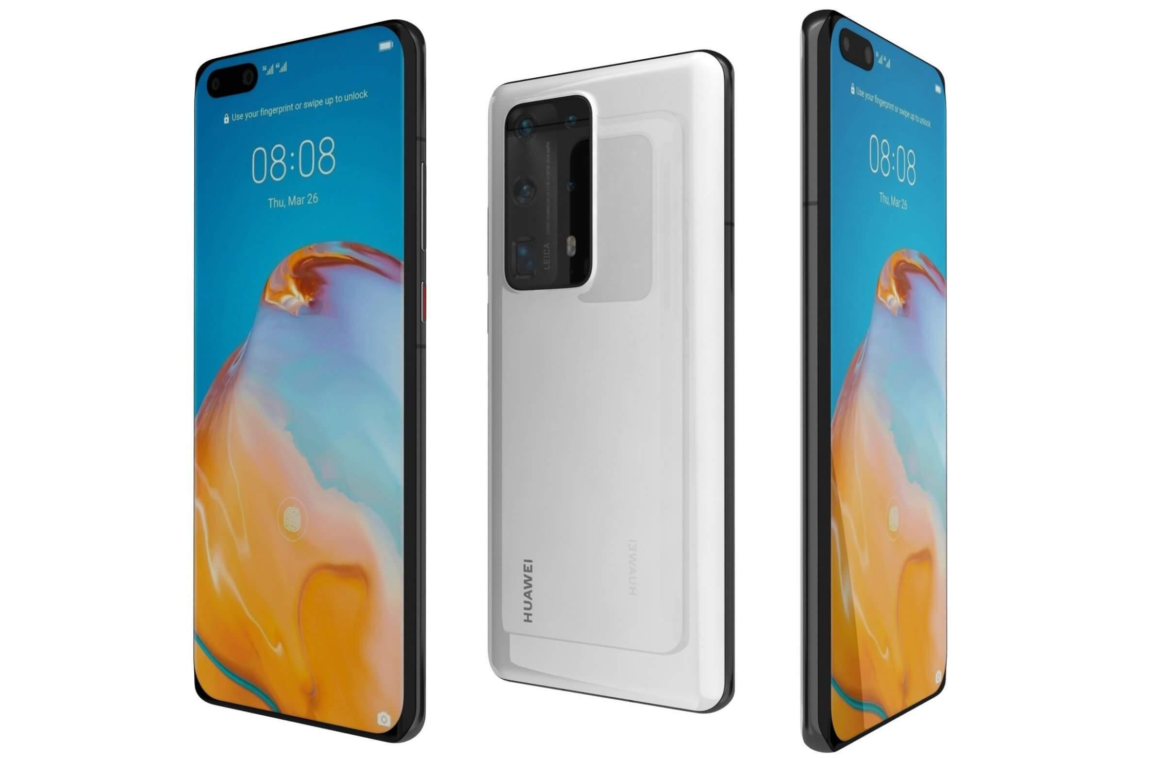 Huawei P40 Pro Plus White 3D Model