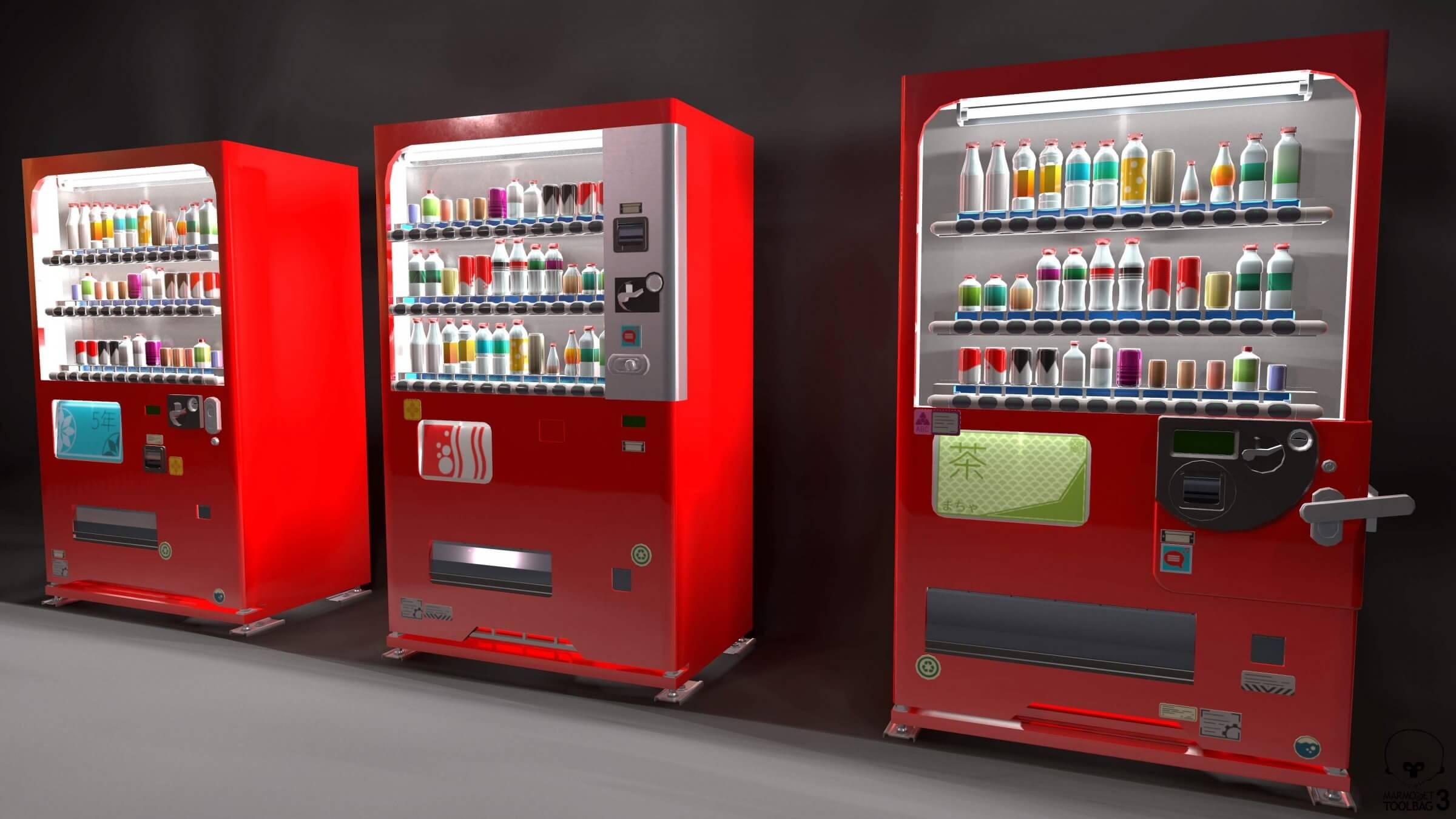 Japanese Vending Machines 3D Model