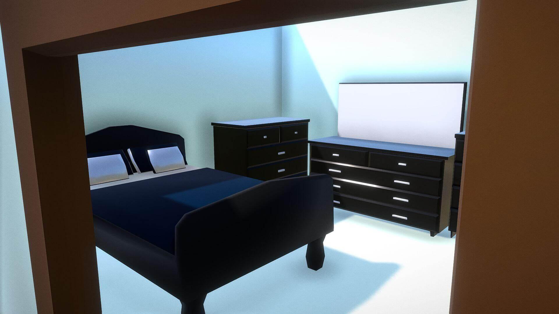 Elegant Master Bedroom Set 3D Model