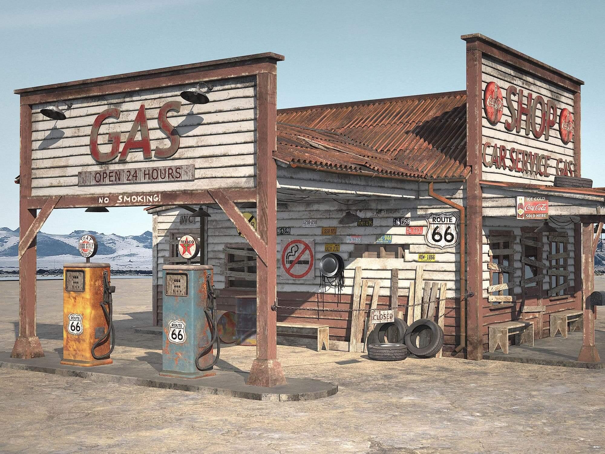 Abandoned Gas Station 3d Model