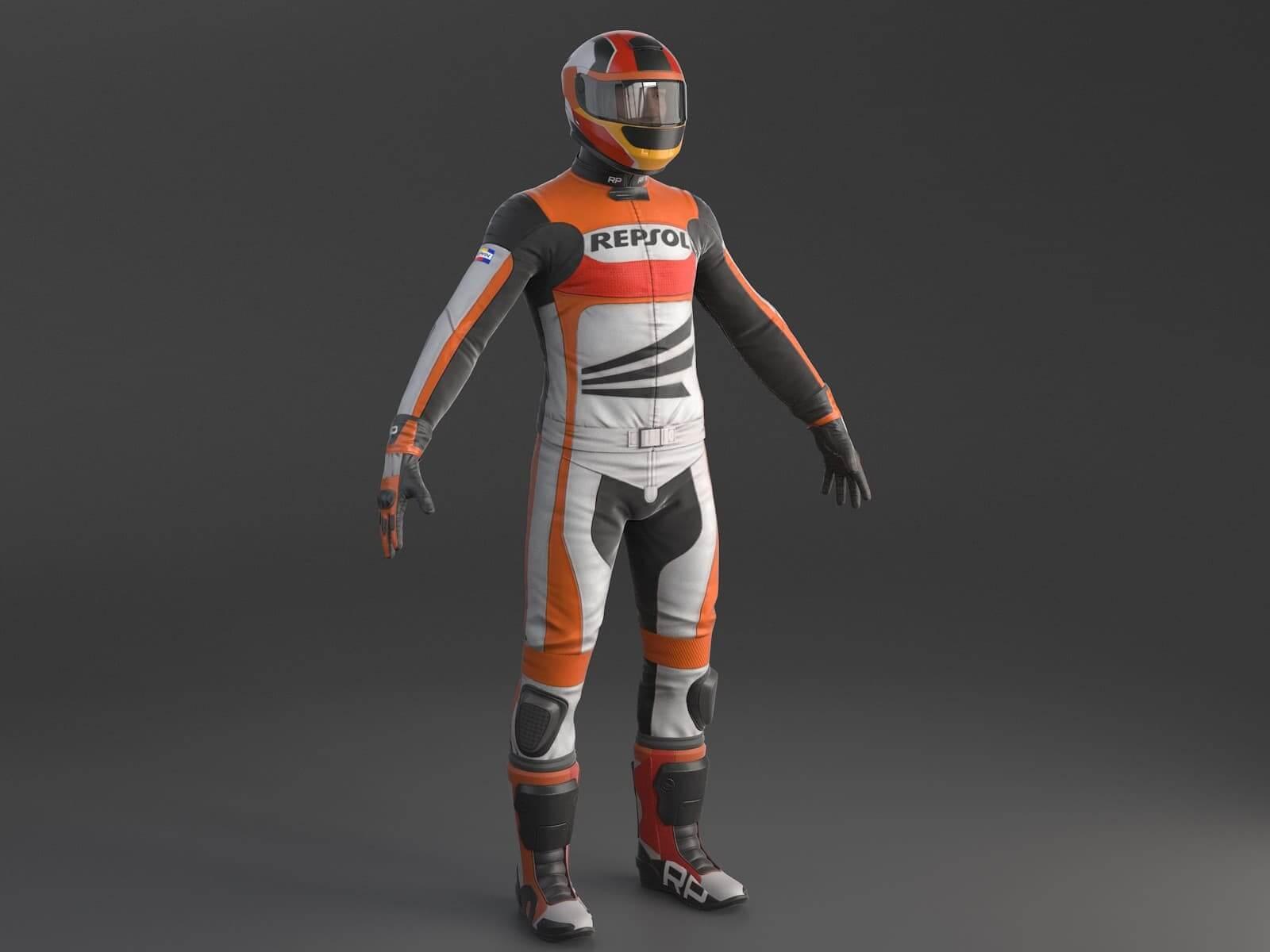 Biker Racing Motorcycle Rider 3D Model