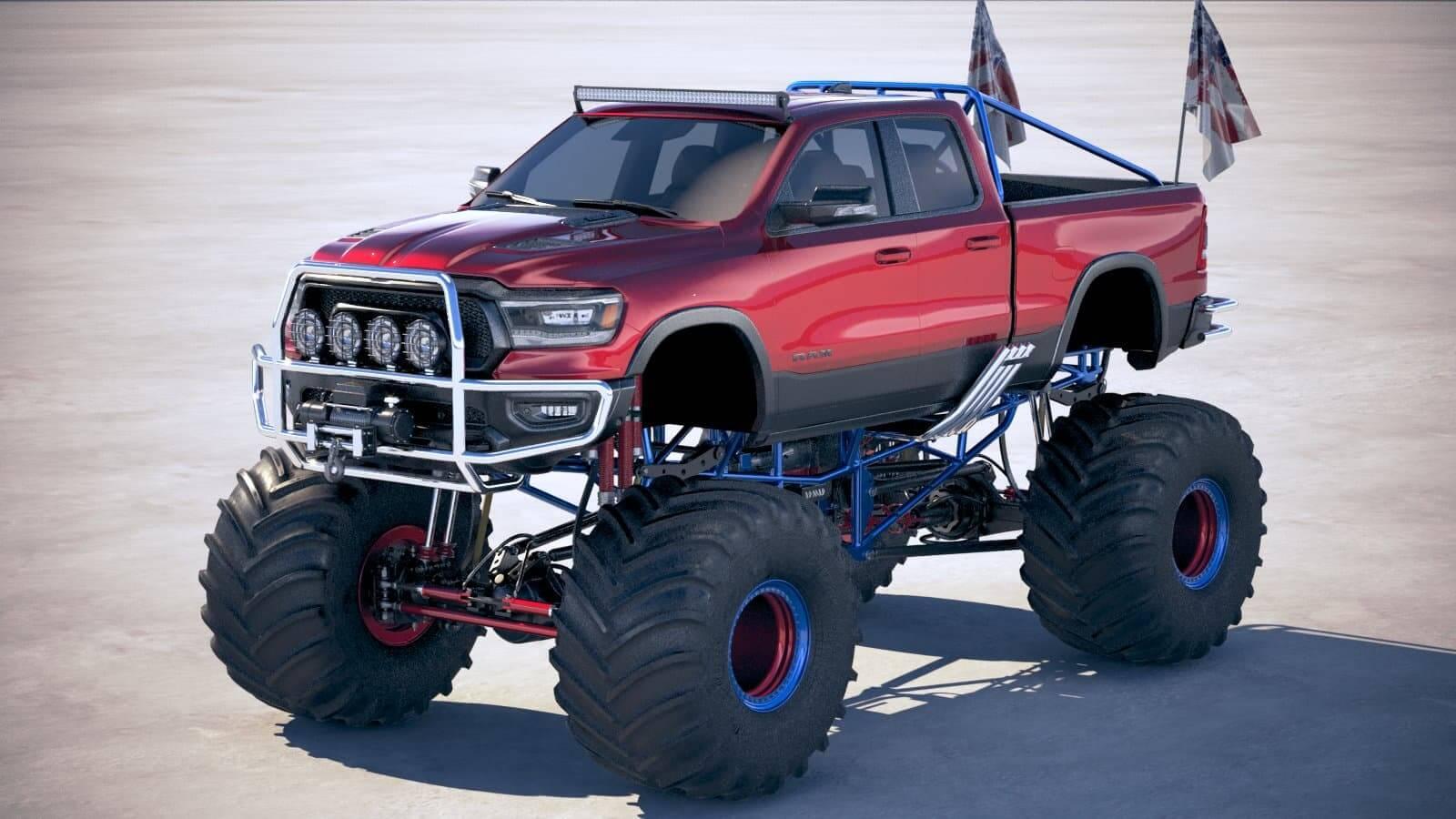 Dodge Ram 1500 Rebel 2019 Monster Truck 3d Model
