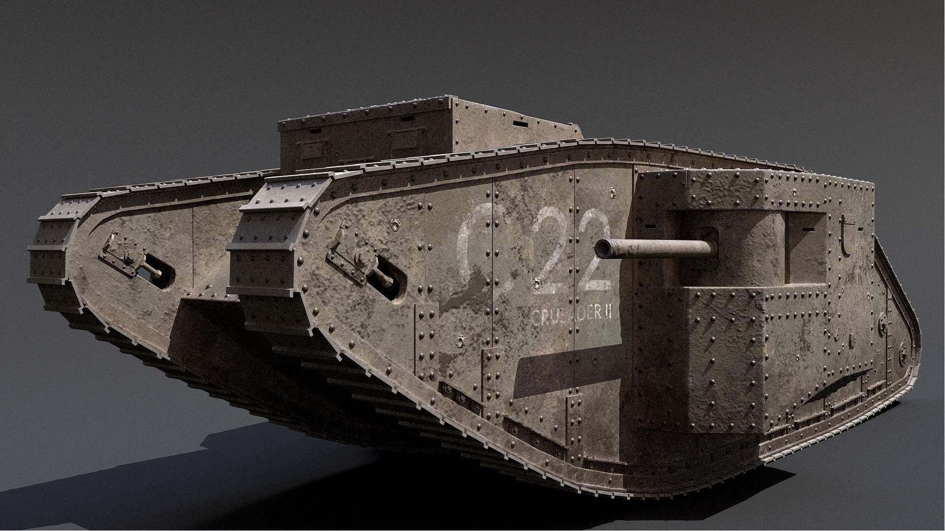 British Mark 1 WWI Tank 3D Model