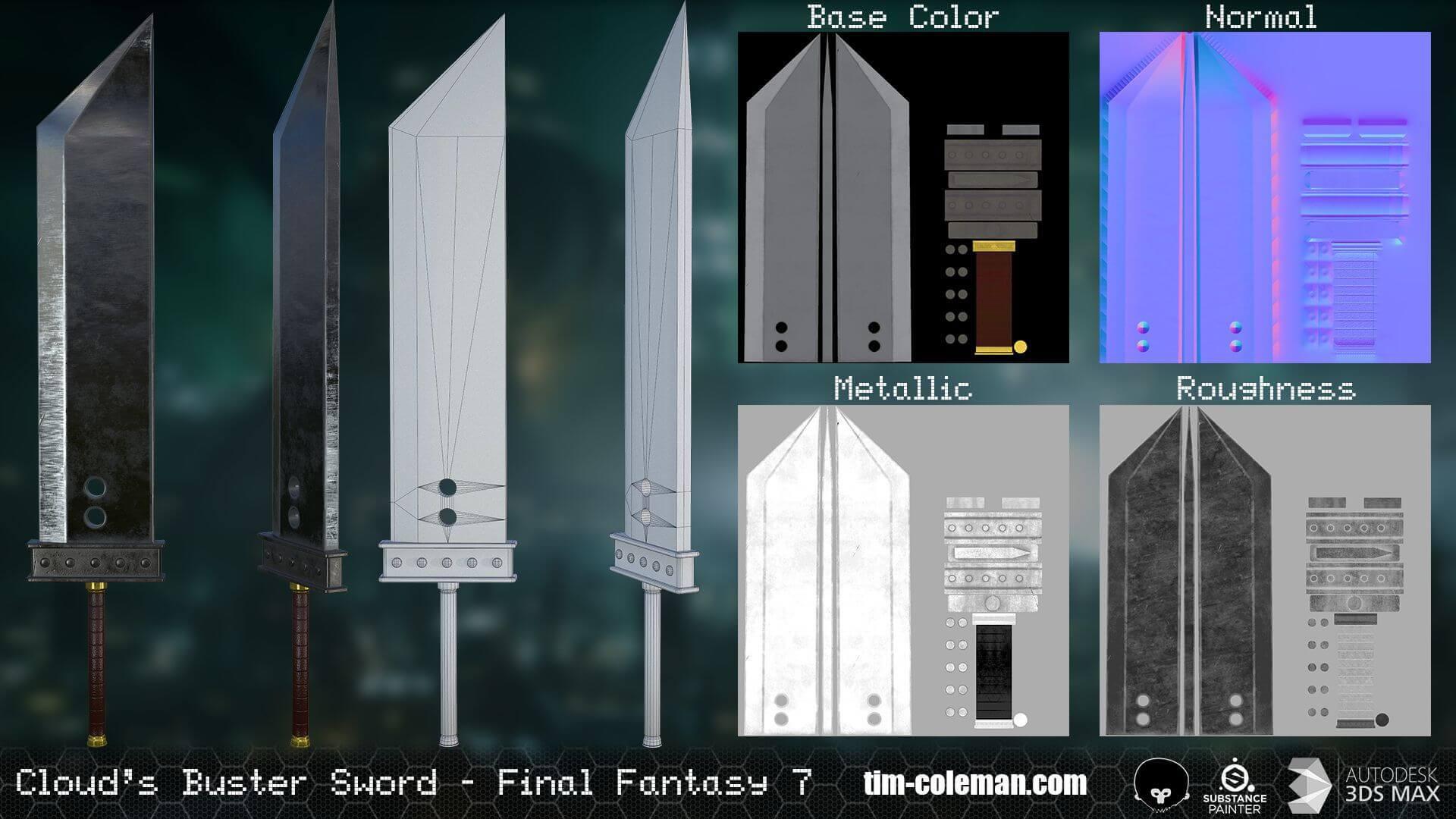 Cloud Strife Buster Sword Final Fantasy Vii 3d Model
