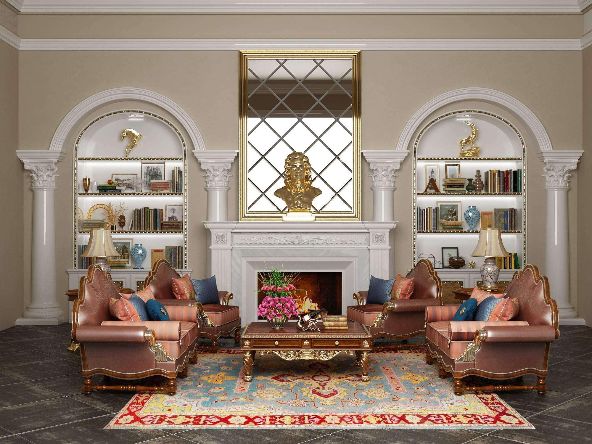 Classic Sofa Set 2 3D Model