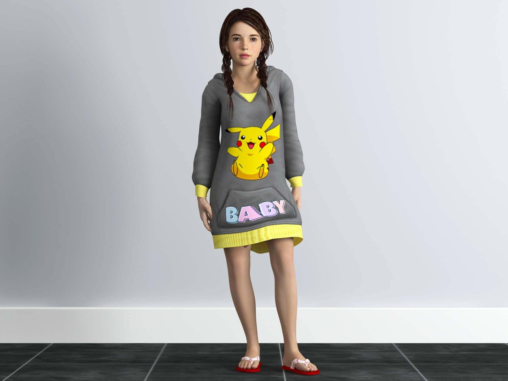 Rigged Little Girl 3D Model