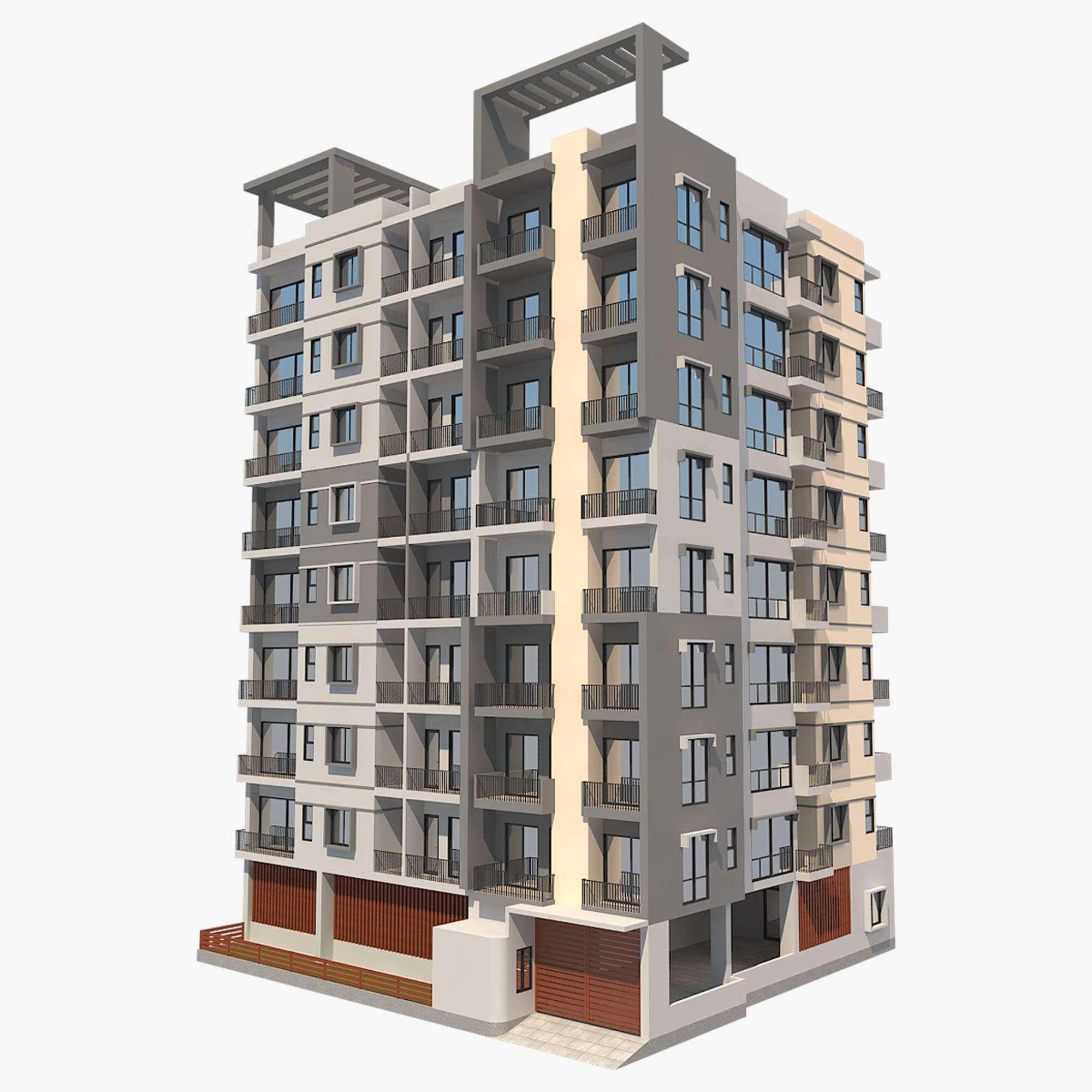 Model Apartments: Apartment Building 2 3D Model