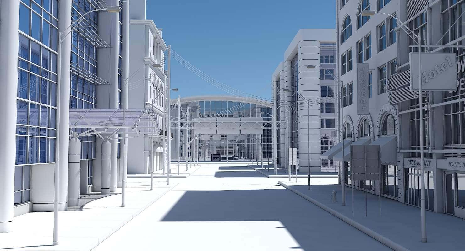 HD City Street Scene 3D Model