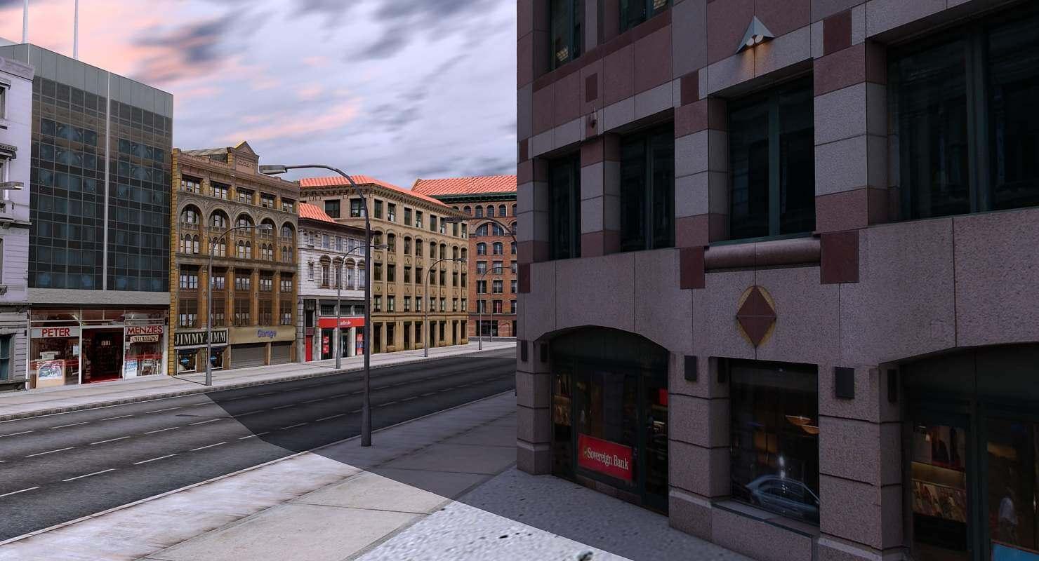 Low Poly City Block 3D Model