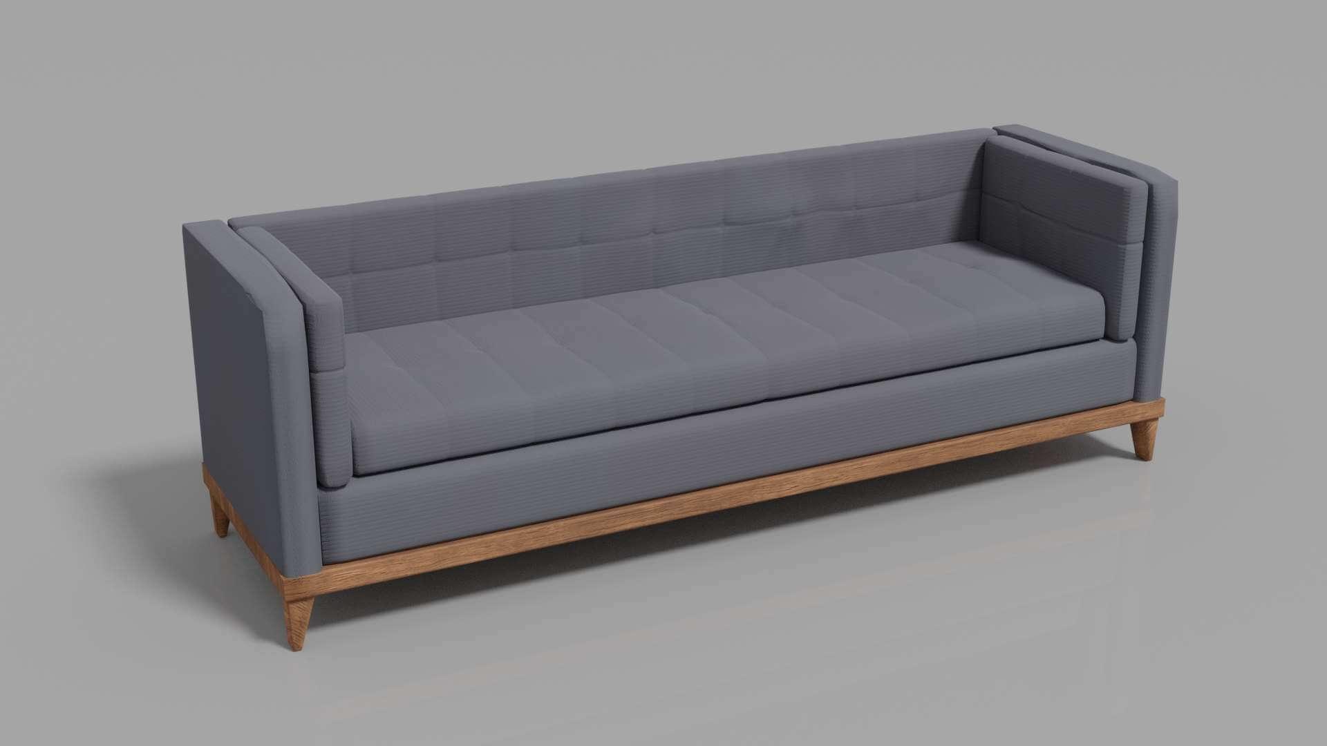Triple Sofa Modern Minimalist Design 3d Model